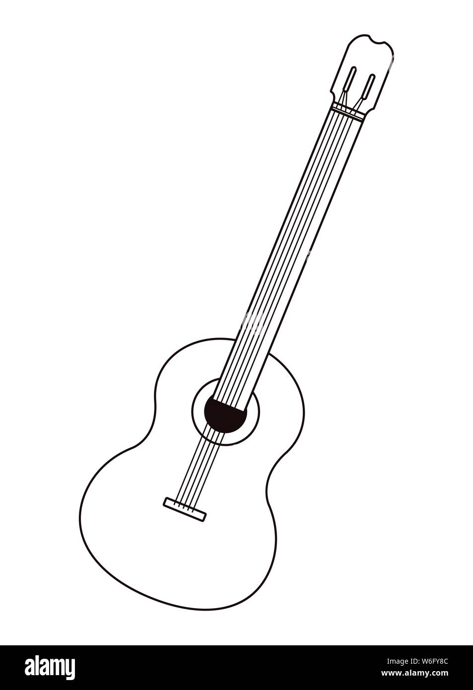 Acoustic Guitar Music Instrument Cartoon In Black And White Stock Vector Image Art Alamy