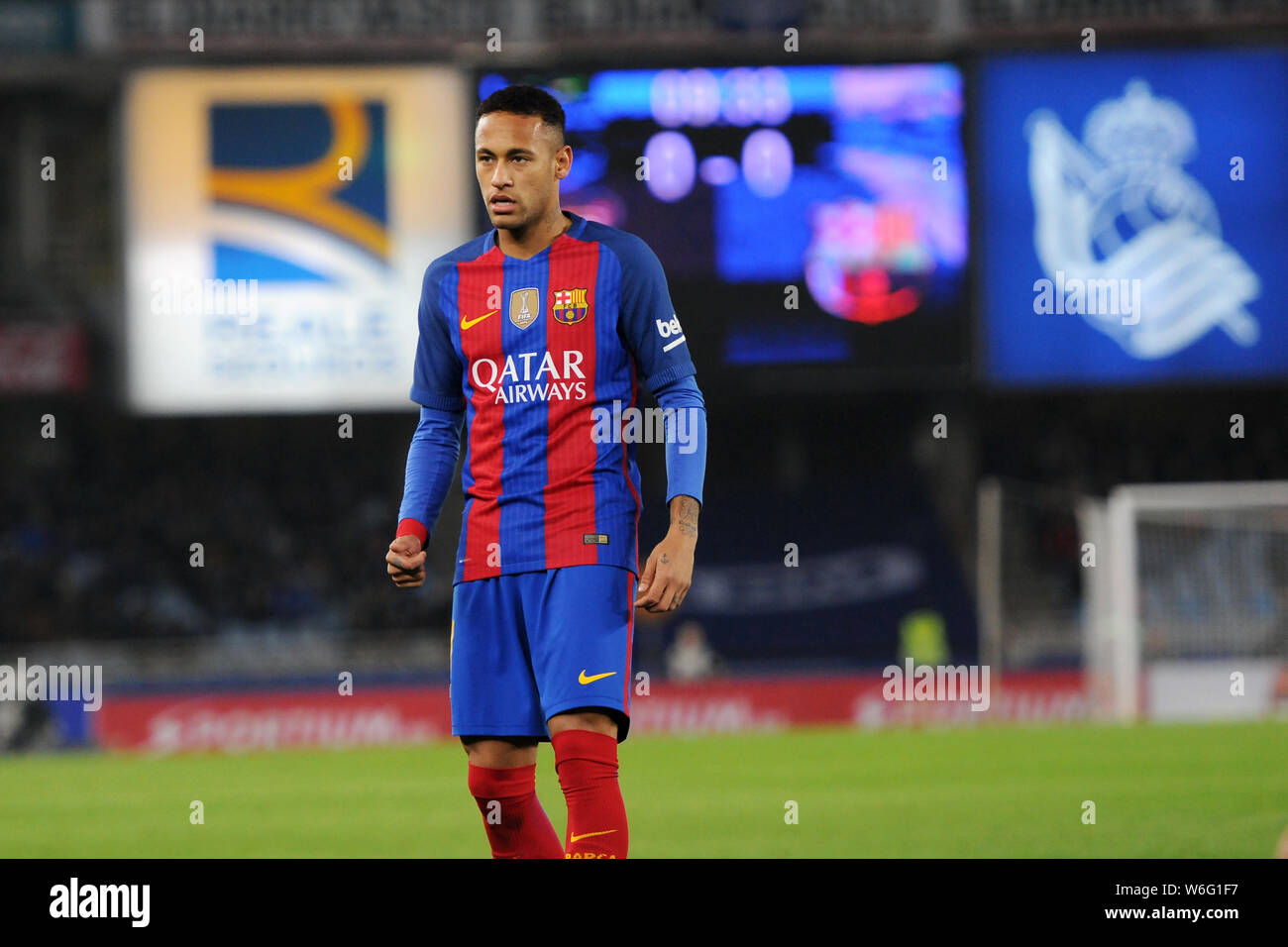 Neymar During The Match Between Real Sociedad And Futbol Club Barcelona Held At Anoeta Stadium Credit Image C Julen Pascual Gonzalez Stock Photo Alamy