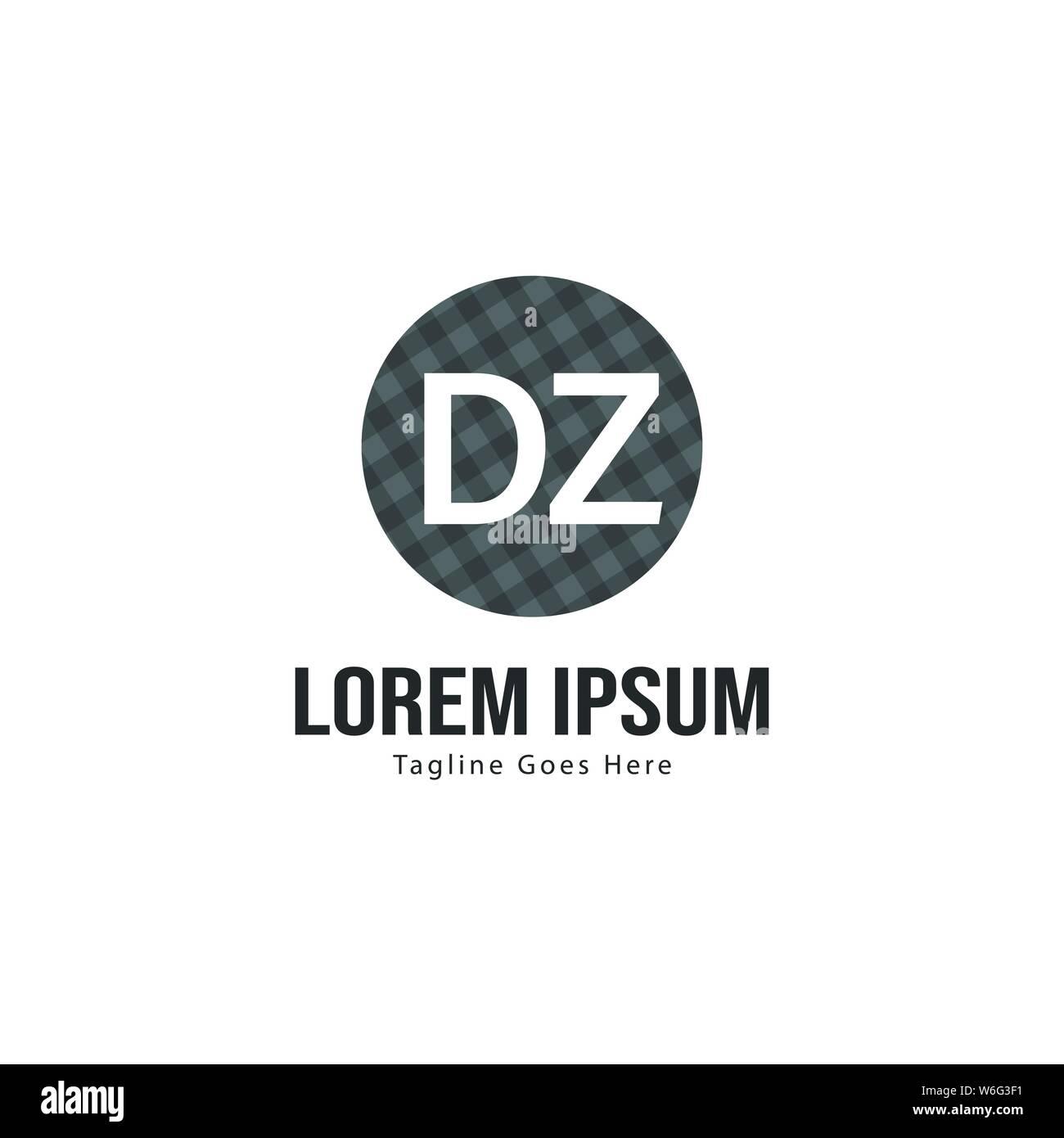 Initial DZ logo template with modern frame  Minimalist DZ