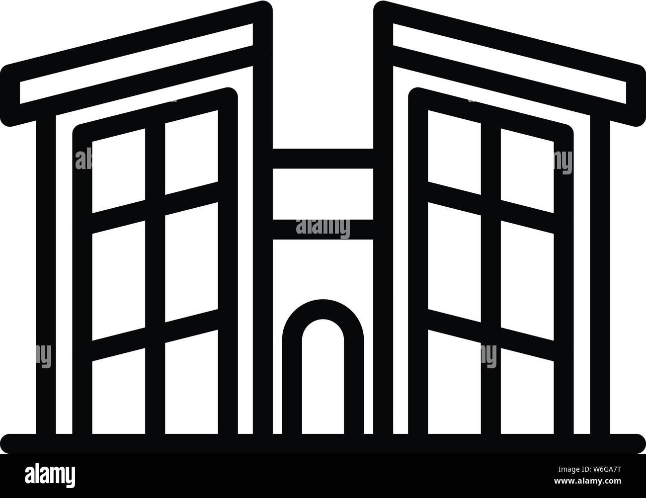 House with high windows icon, outline style Stock Vector Art
