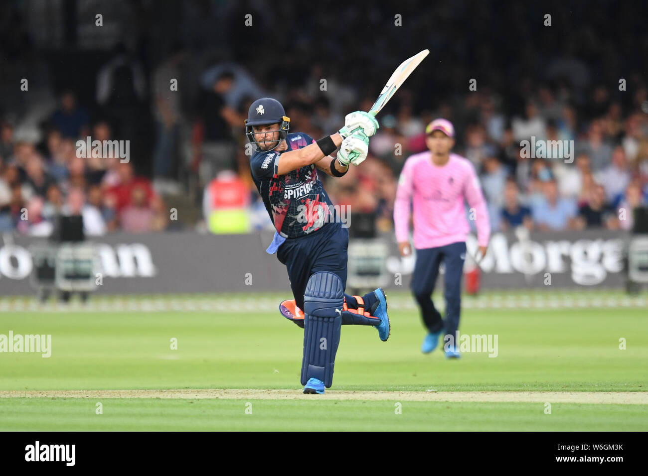 London, UK. 1st Aug, 2019. Heino Kuhn of Kent Cricket Club in action during todays match during T20 Vitality Blast Fixture between Middesex vs Kent at The Lord Cricket Ground on Thursday, August 01, 2019 in LONDON ENGLAND. Credit: Taka G Wu/Alamy Live News Stock Photo