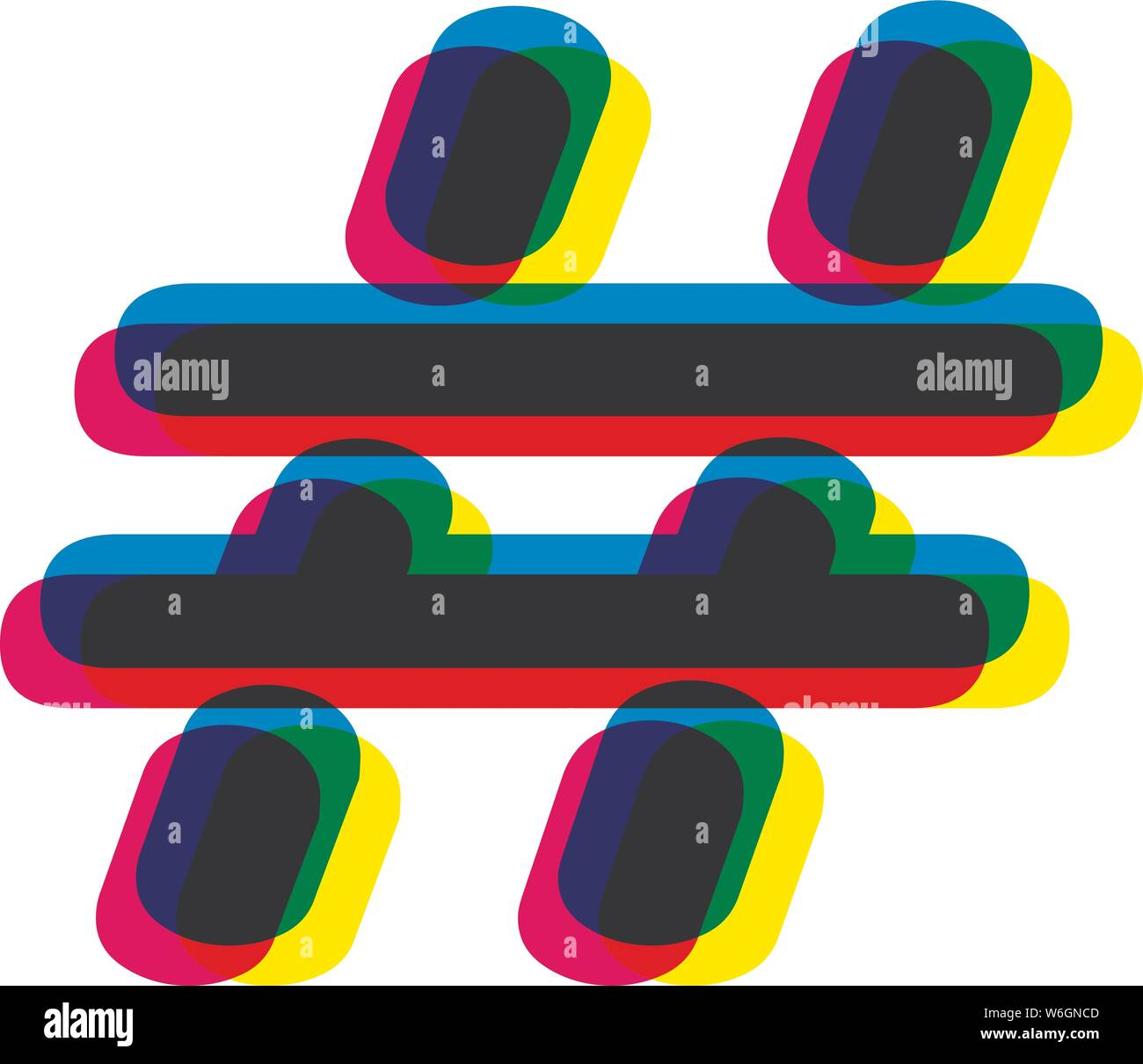 colorful hashtag keyword sign vector. Creative bright mark sign for web, blogs, for definition main trend word of searching goods and subjects. Stock Vector