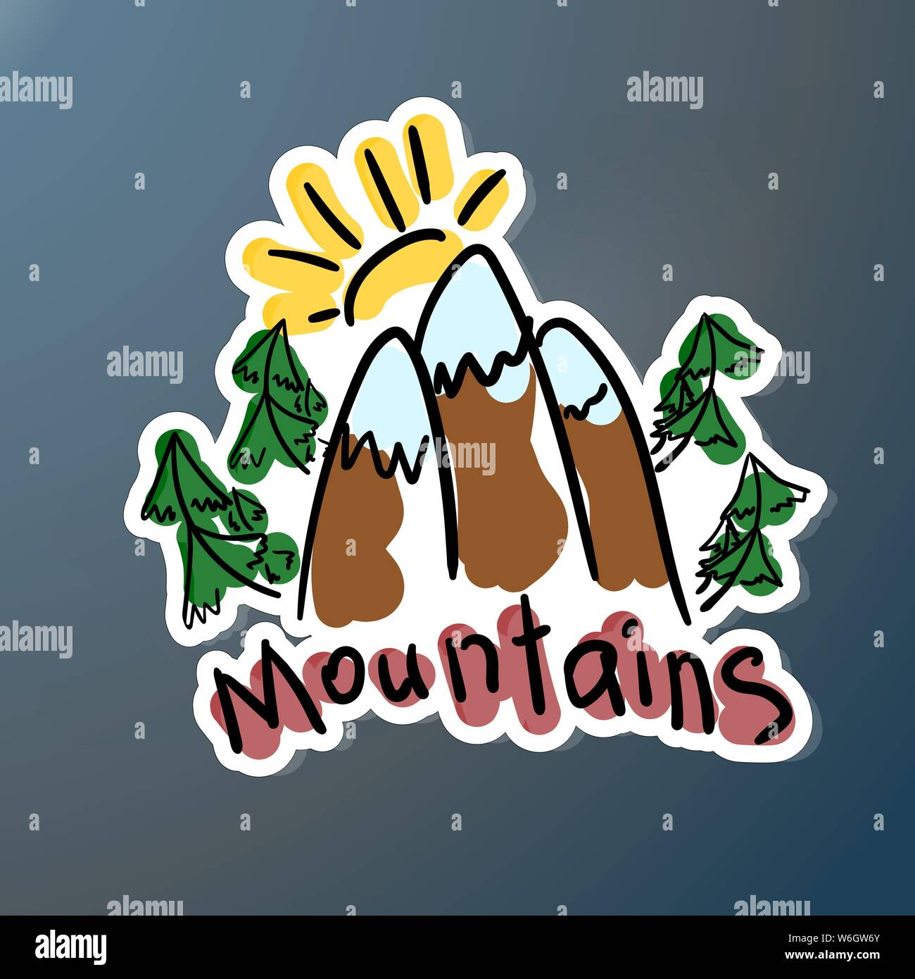 Mountain expedition stiker. Logo in doodle style. Extreme exploration car decal. Adventure hiking creative emblem outdoors. Concept Hand calligraphy s Stock Vector