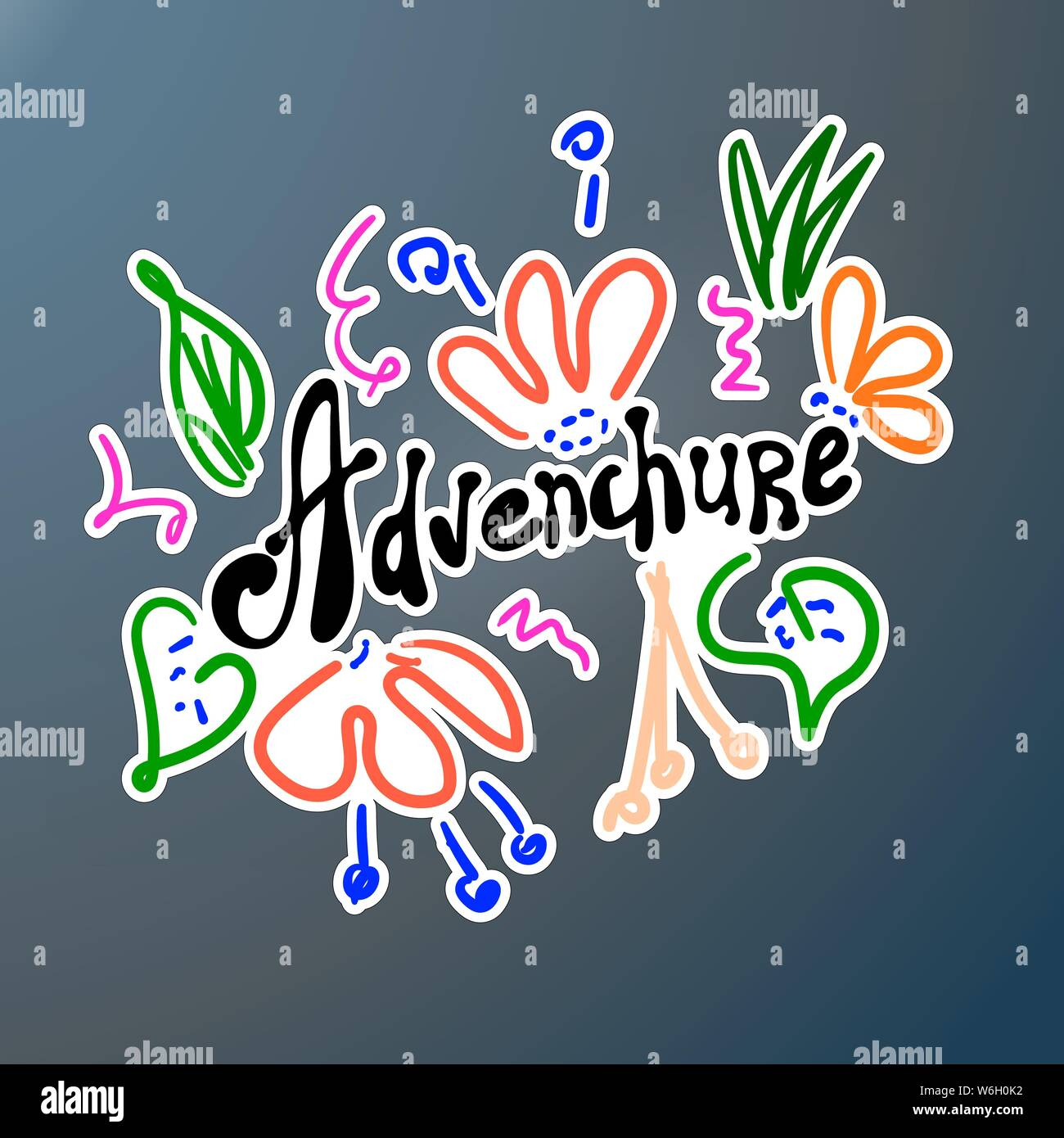 Adventure sticker in doodle style. Funny letters and flowers. Hand calligraphy scribble. Car decal designs. For printing on clothes, creating banner, Stock Vector