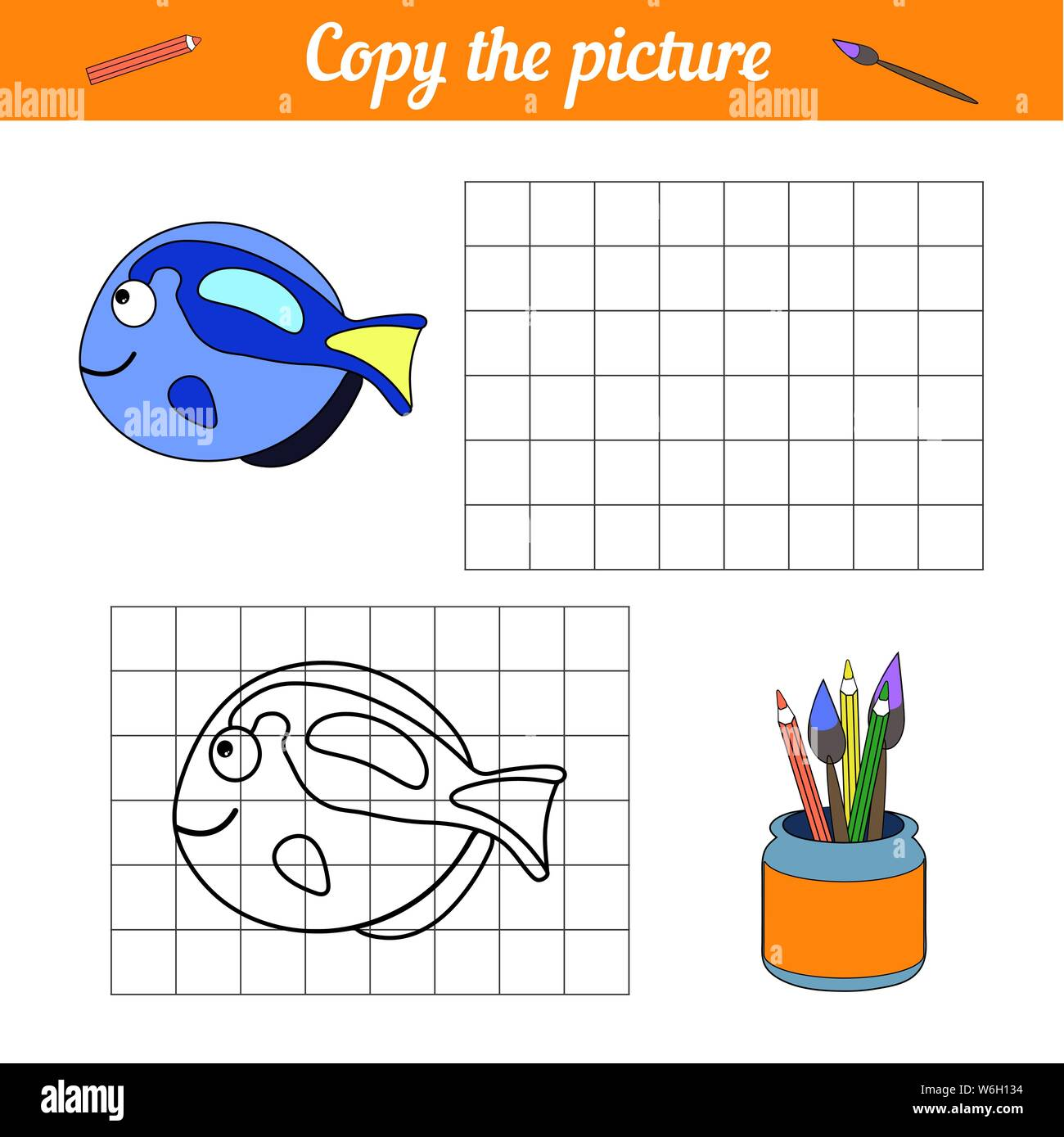 Fish coloring book Copy on the grid. With a sample of blue tang fish and bubbles. Leisure development. Game for children magazine. Cartoon Aquarium se Stock Vector