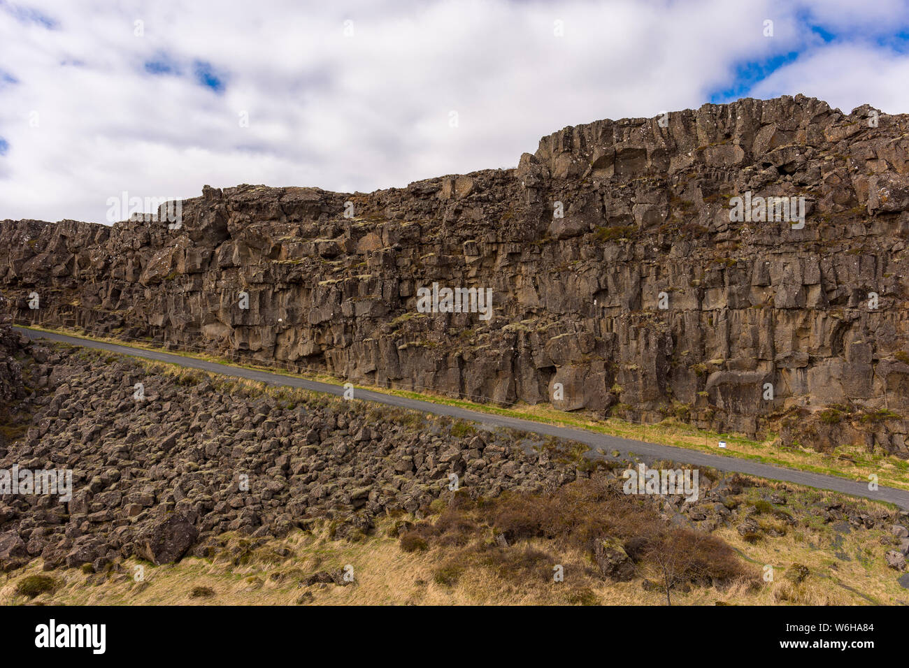 PINGVELLIR NATIONAL PARK, ICELAND - Rock formations at Mid-Atlantic Ridge rift valley, and site of historic national Parliment of Iceland. Stock Photo