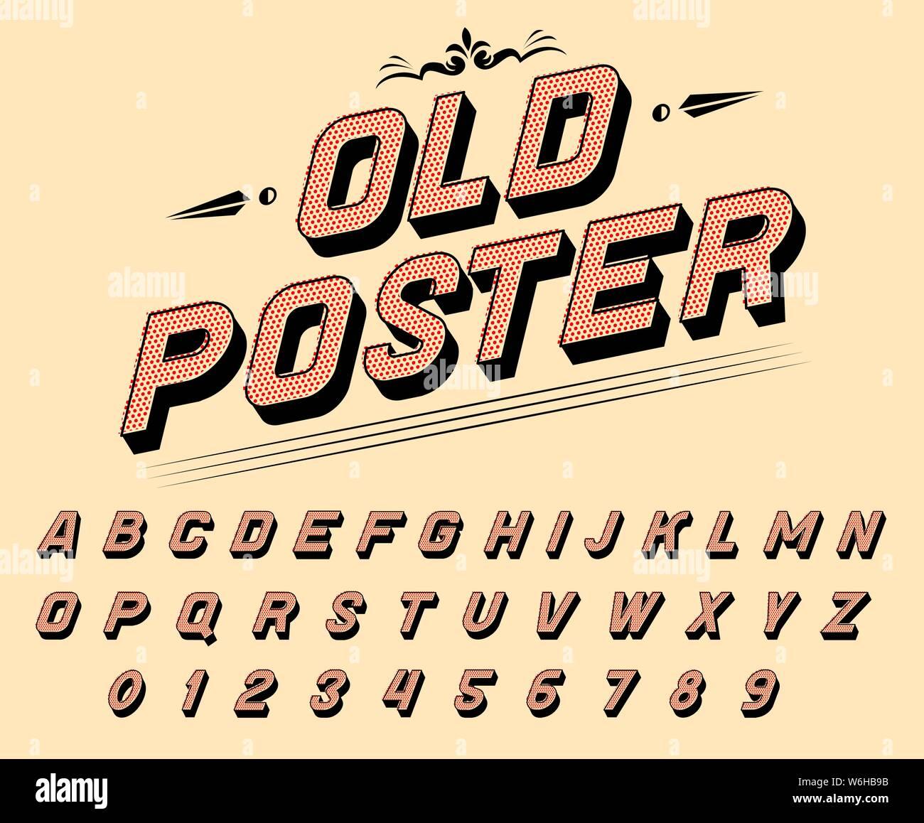 Pop art font for posters  Comic retro game alphabet  Vintage