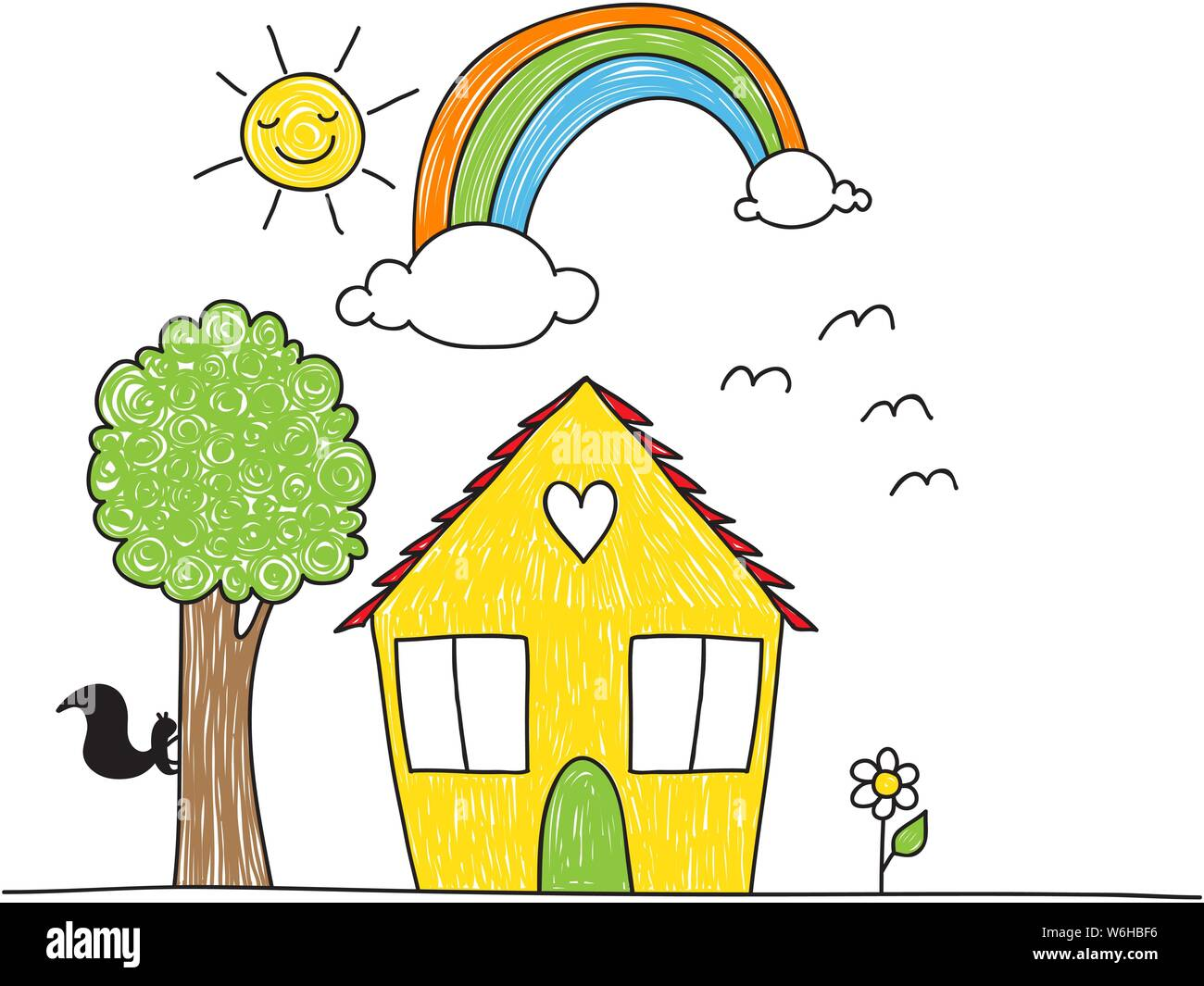 Cute Children S Drawing Style House Tree Flowers Rainbow And Sun The Coloring Is Imperfect Looking Stock Vector Image Art Alamy