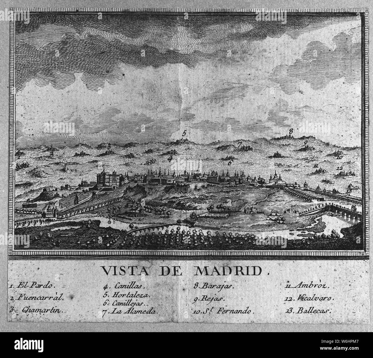 VISTA GENERAL DE MADRID - SIGLO XVII - GRABADO. Location: MUSEO DE HISTORIA-GRABADOS BLANCO Y NEGRO. SPAIN. Stock Photo