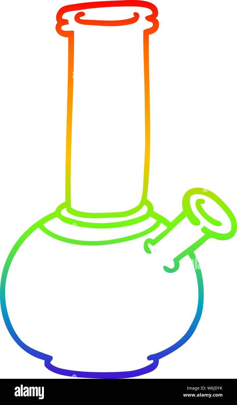 rainbow gradient line drawing of a cartoon bong Stock Vector