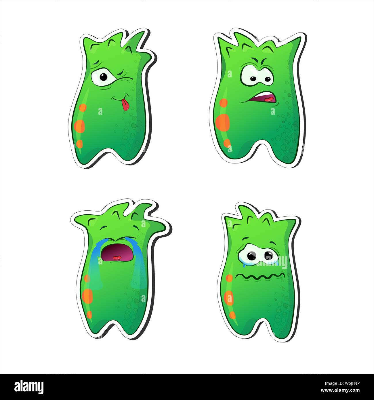 Green aliens. Funny cartoon characters with emotions. Sad, crying, angry, teased. A set of monsters stickers. Extraraterrestrial Talisman for print, c Stock Vector