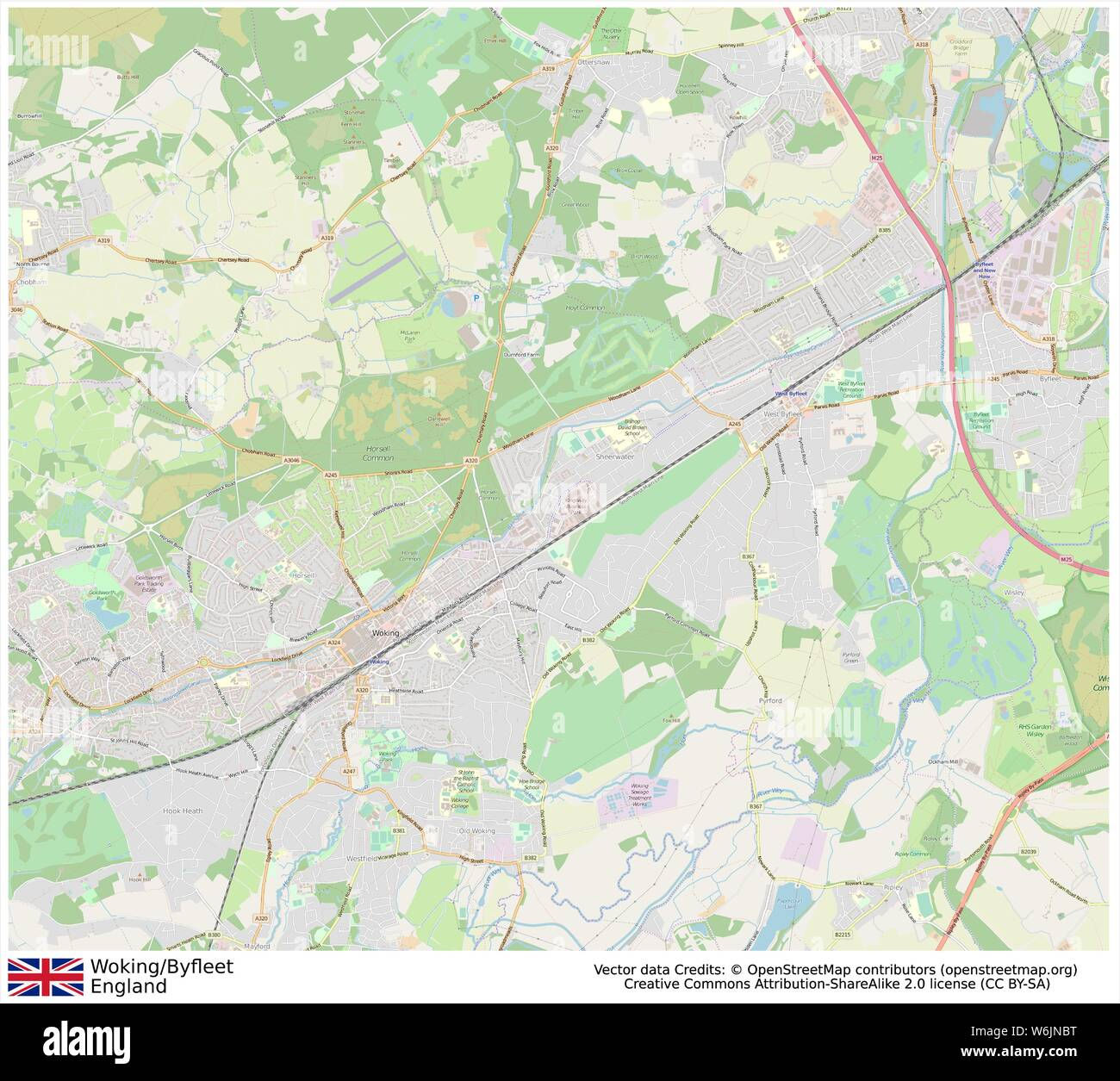 Full Map Of England.Woking Byfleet England United Kingdom Downtown Streets City Map Full