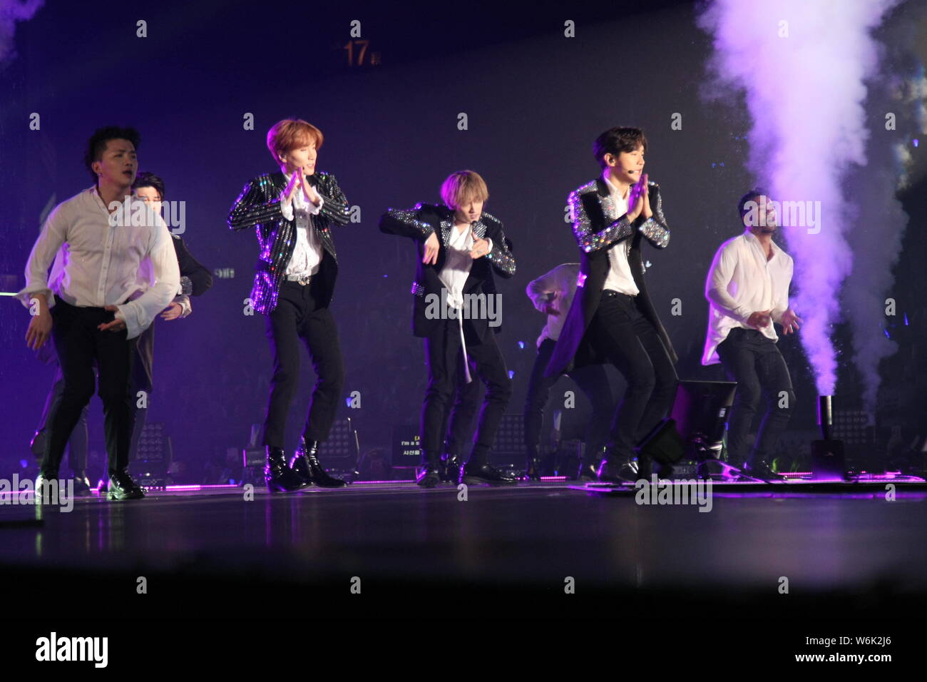Members of South Korean boy band Super Junior perform during