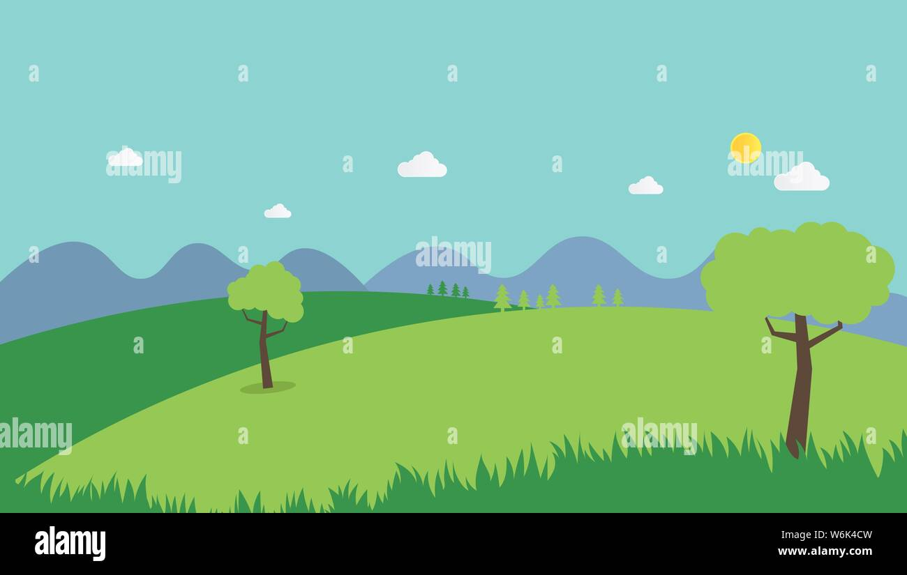 Nature Landscape Summer Background Flat Design Vector Scene Nature With Hills Mountains And Sky Background Countryside With Field Stock Vector Image Art Alamy