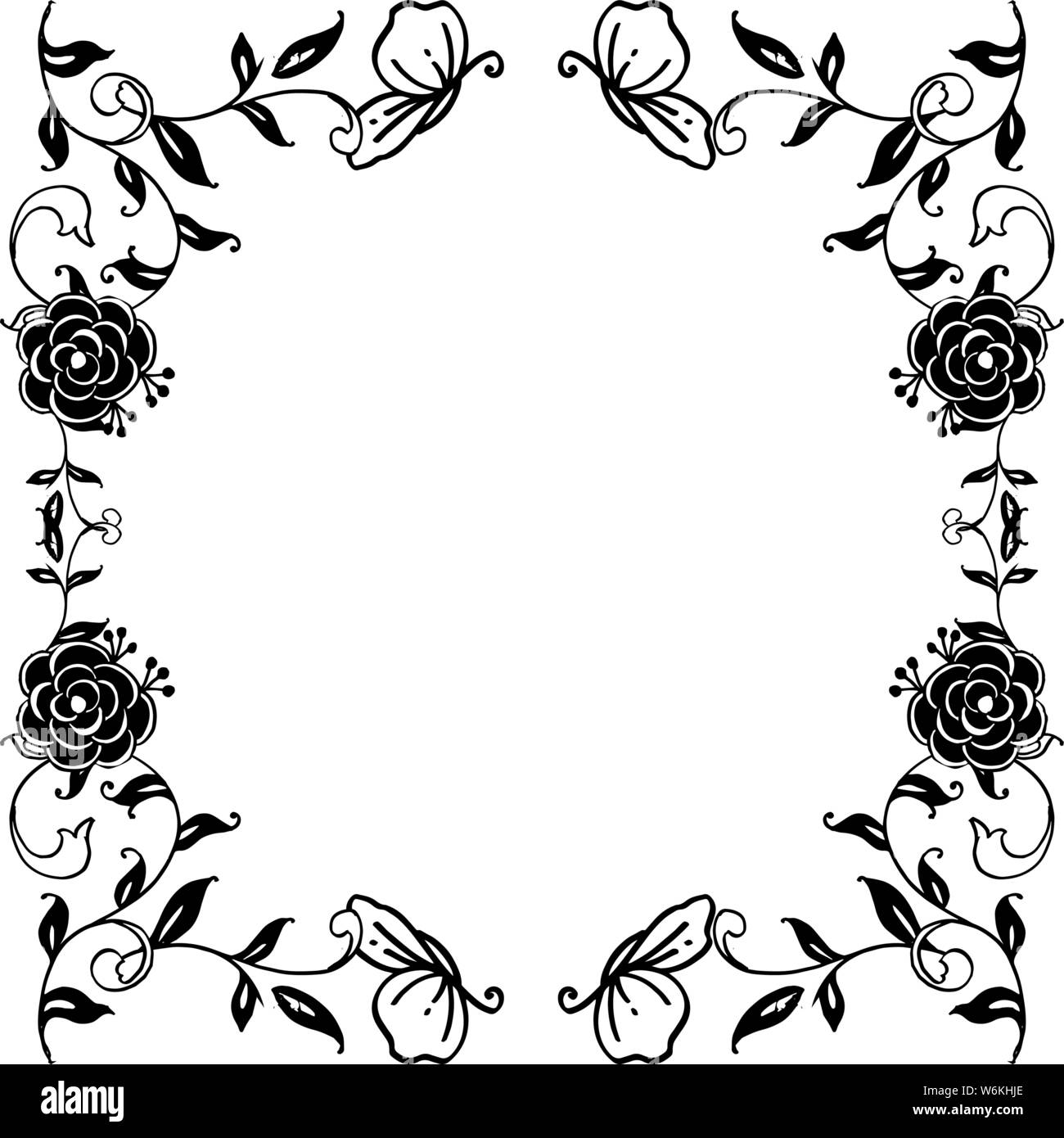 Silhouette Of Black White Flower Frame Ornament Wallpaper