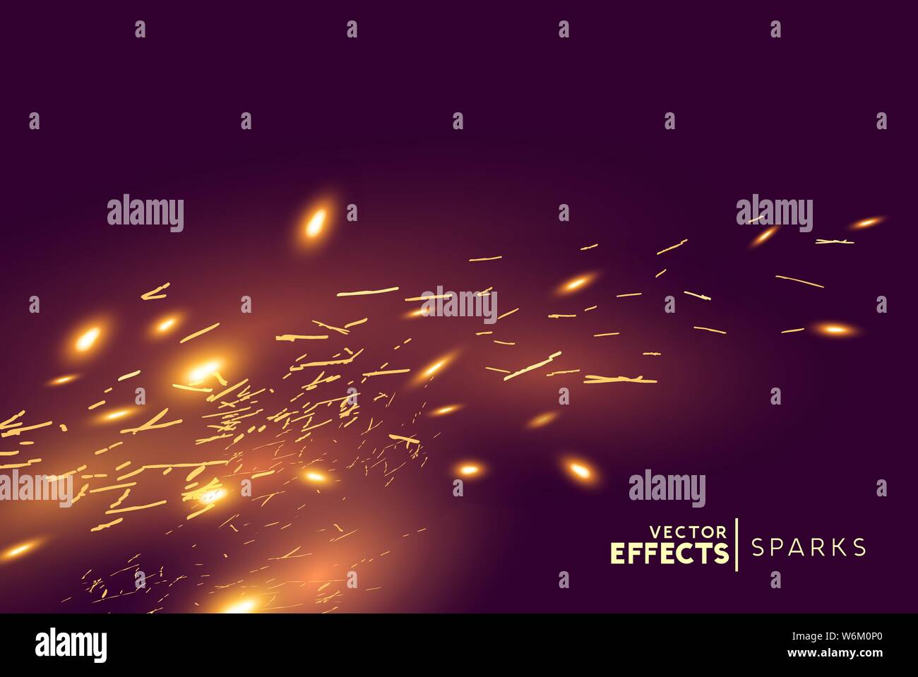 Bright glowing fire sparks blowing in the wind. Vector illustration. Stock Vector