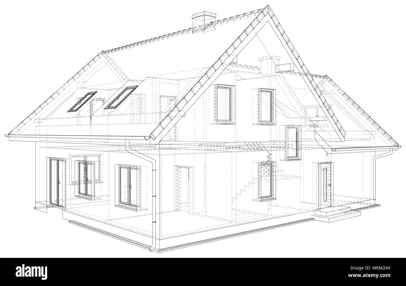 perspective wireframe of house exterior vector created of 3d W6M24X