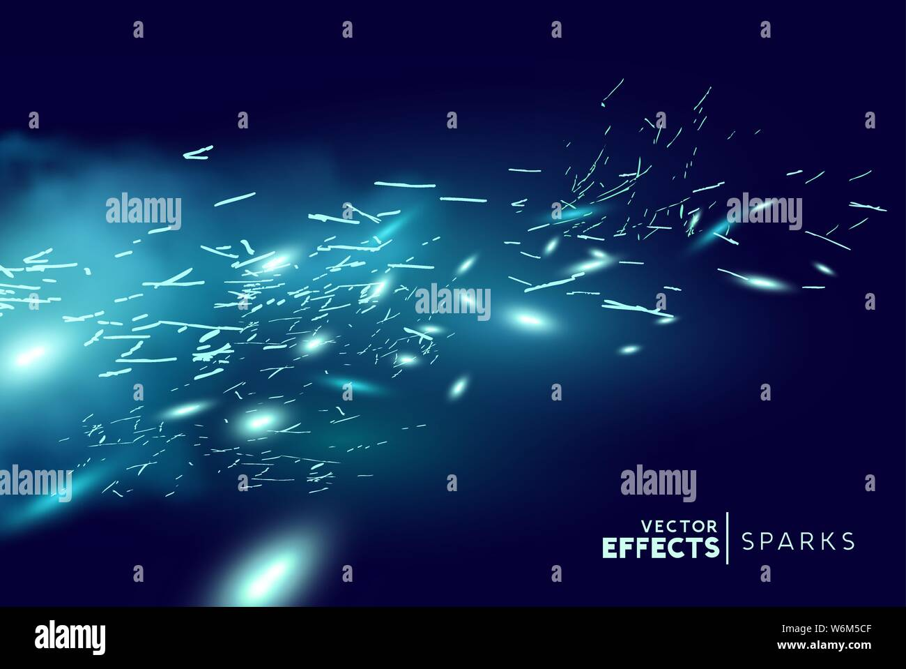 Magical fantasy blue fire sparks blowing through the wind. Vector illustration. Stock Vector