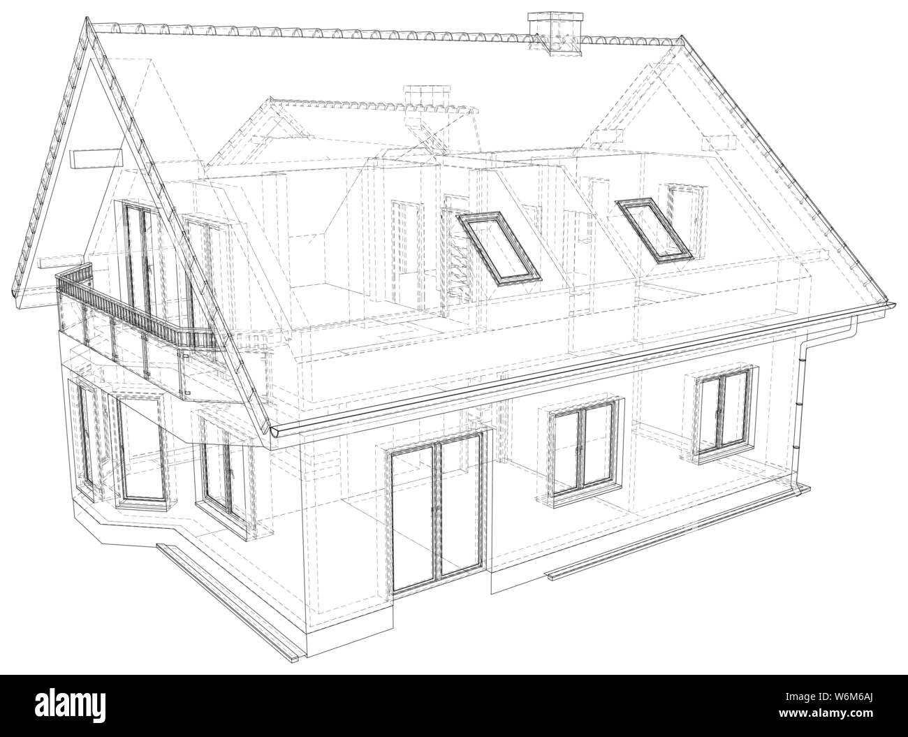 Perspective wireframe of house exterior. Vector created of 3d. Stock Vector