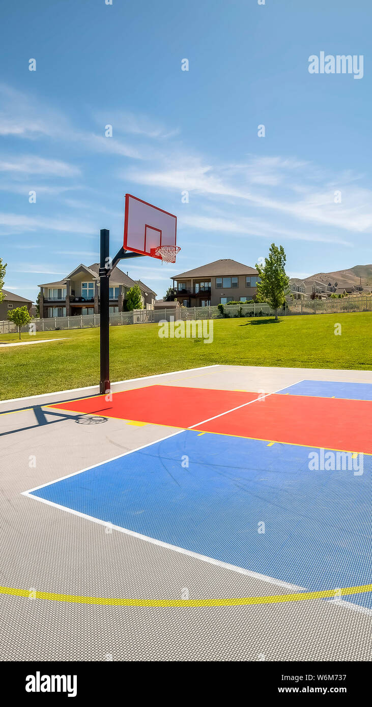 Vertical Outdoor Public Basketball Court With Home Mountain And Blue Sky Background Stock Photo Alamy