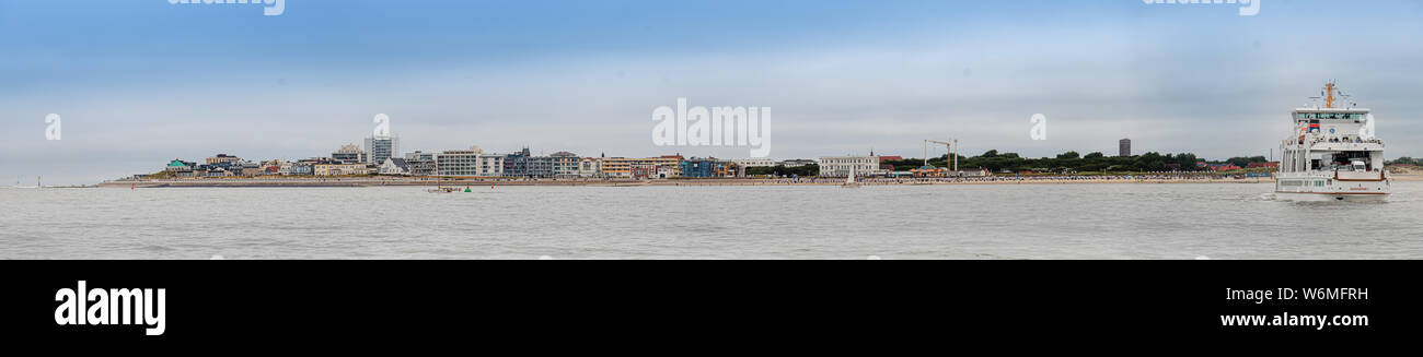 arrival on island norderney, travel transport with ferry Stock Photo