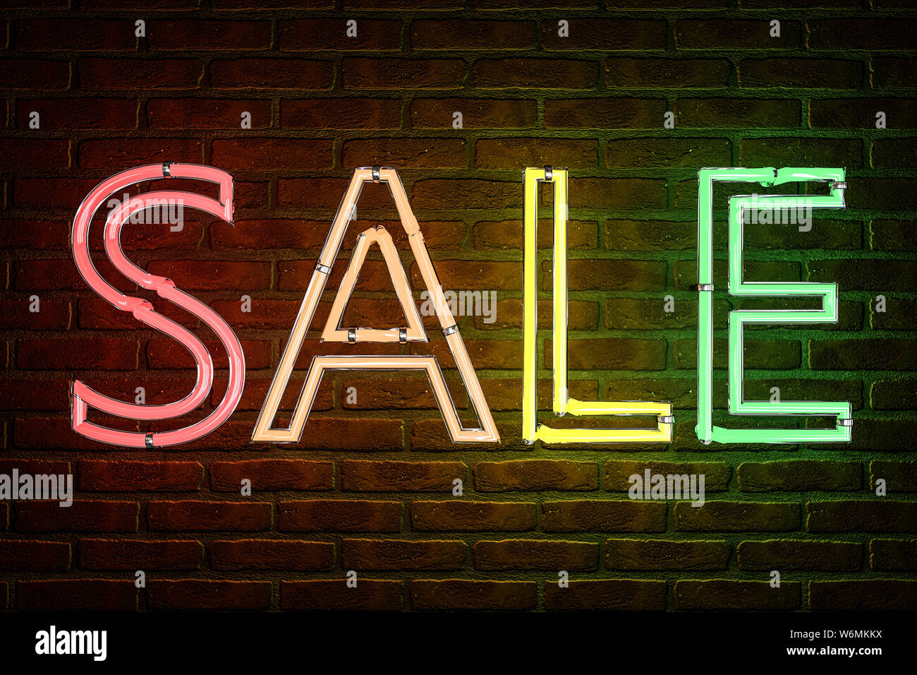 """3d illustration: Advertising neon sign with the inscription """"sale"""" of colored letters on the background of a red brick wall. Stock Photo"""