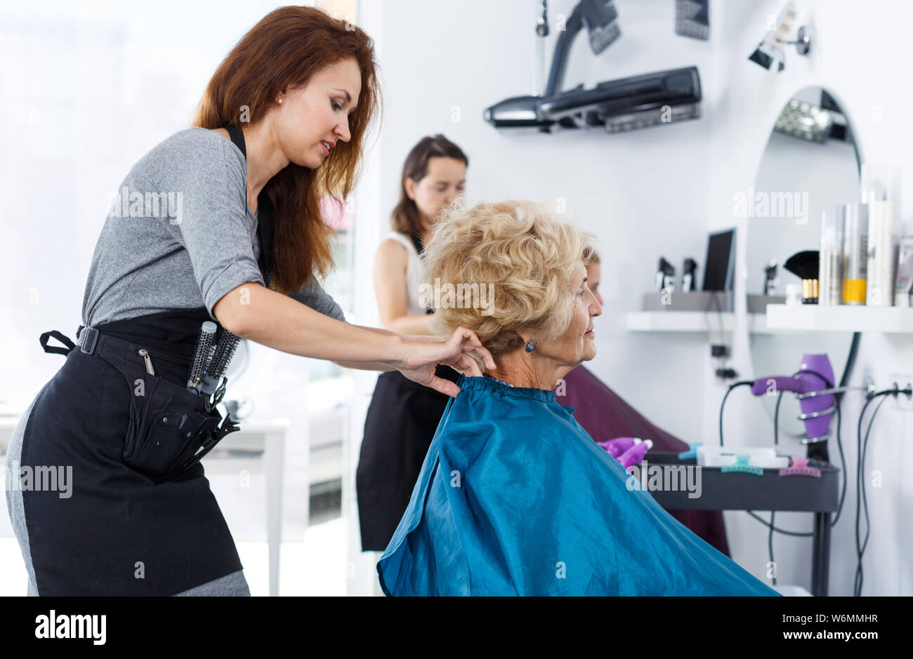 Super Portrait Of Young Friendly Hairdresser Seating Elderly Download Free Architecture Designs Rallybritishbridgeorg