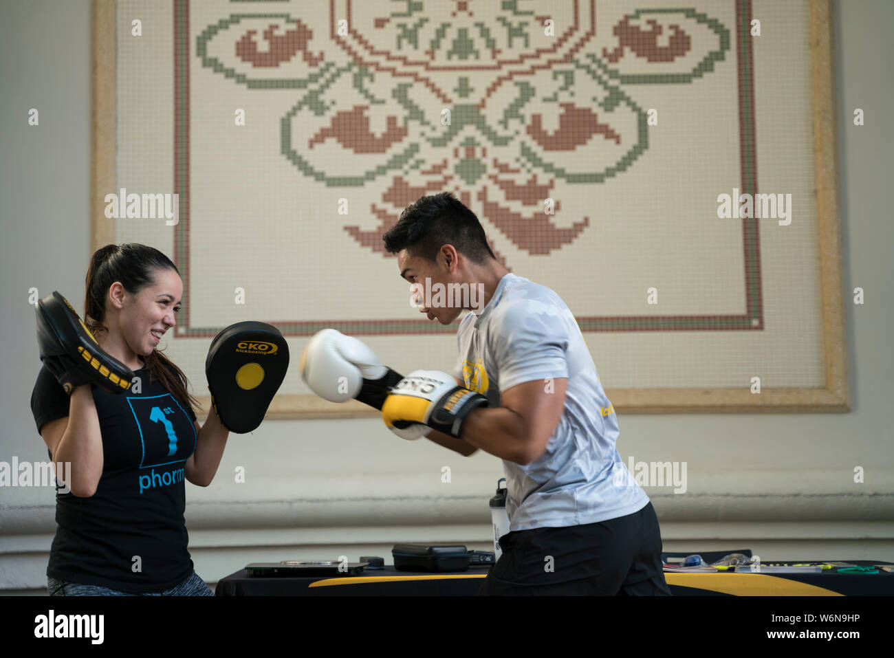 Man and Woman Boxing Stock Photo