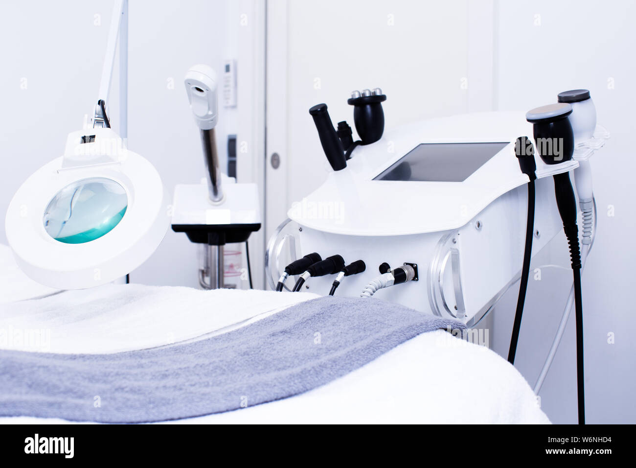 Closeup of cosmetology equipment in modern aesthetic clinic Stock