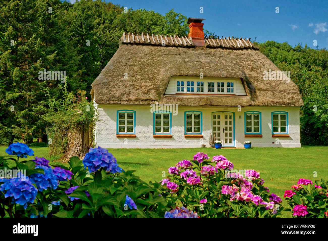 Traditional house with thatched roof and garden, Steinberghaff, Schleswig-Holstein, Germany Stock Photo