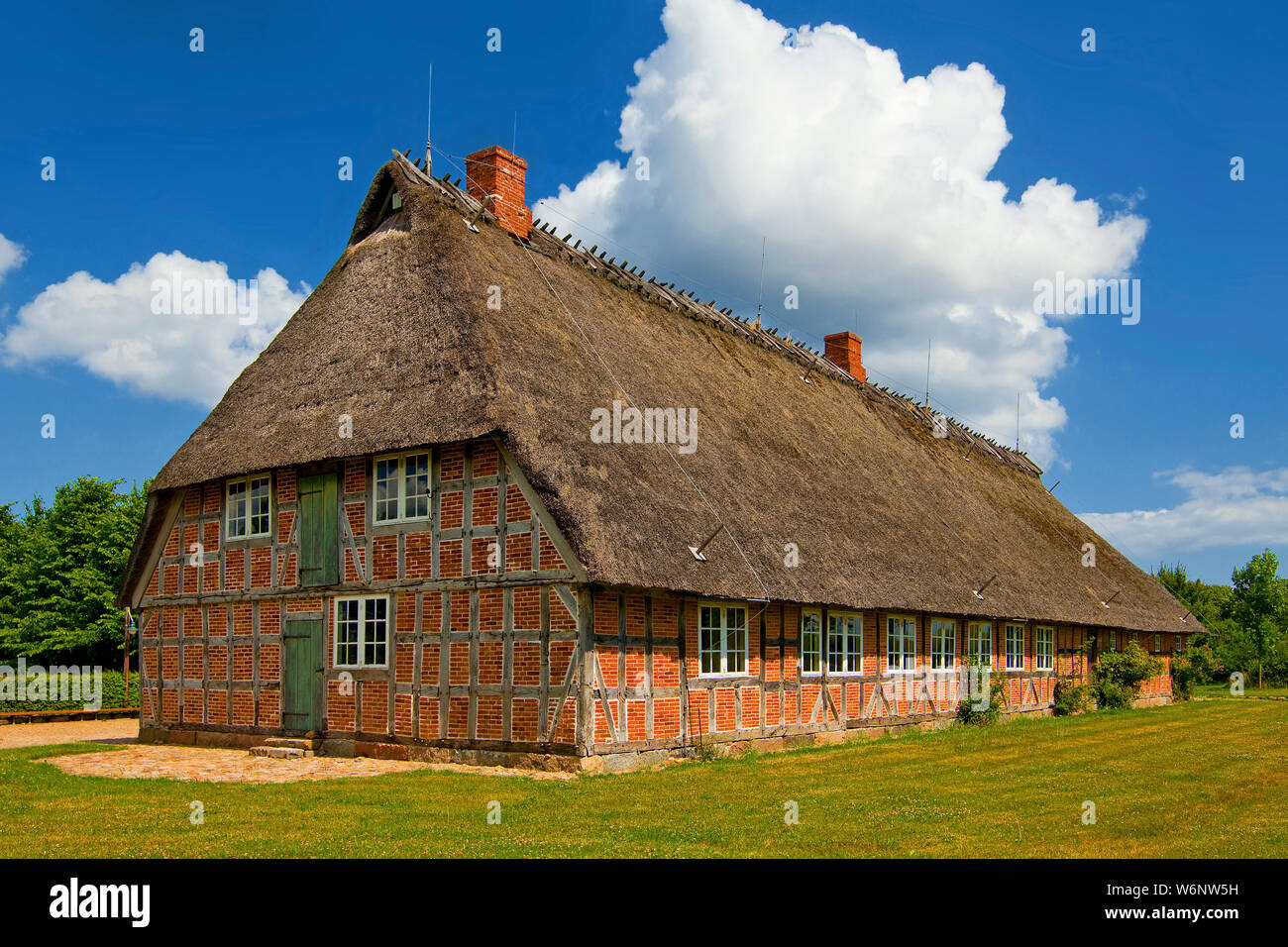 Landscape museum, traditional house with thatched roof, Angeln, Schleswig-Holstein, Germany Stock Photo