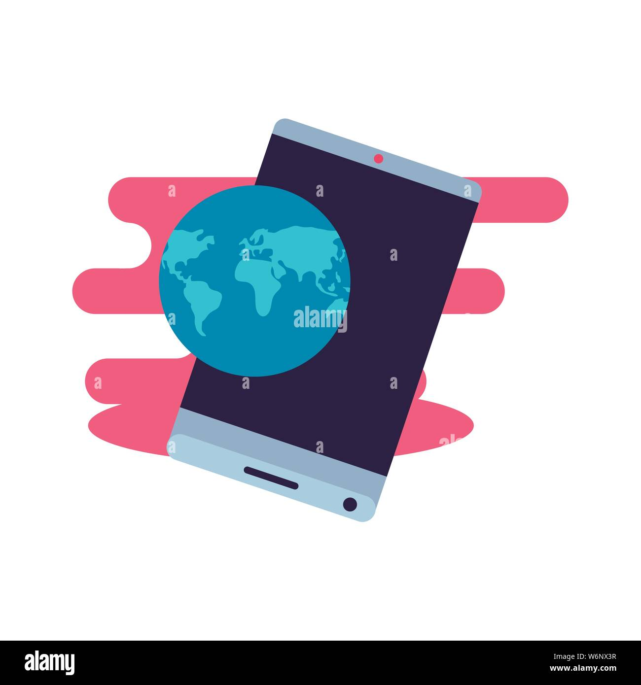 smartphone with world planet travel app vector illustration design Stock Vector