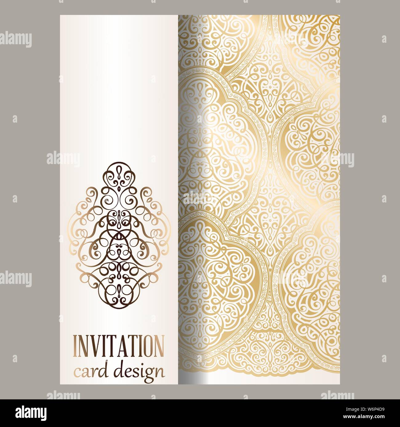 Wedding Invitation Card With Gold Shiny Eastern And Baroque Rich Foliage Ornate Islamic Background For Your Design Islam Arabic Indian Dubai Stock Vector Image Art Alamy