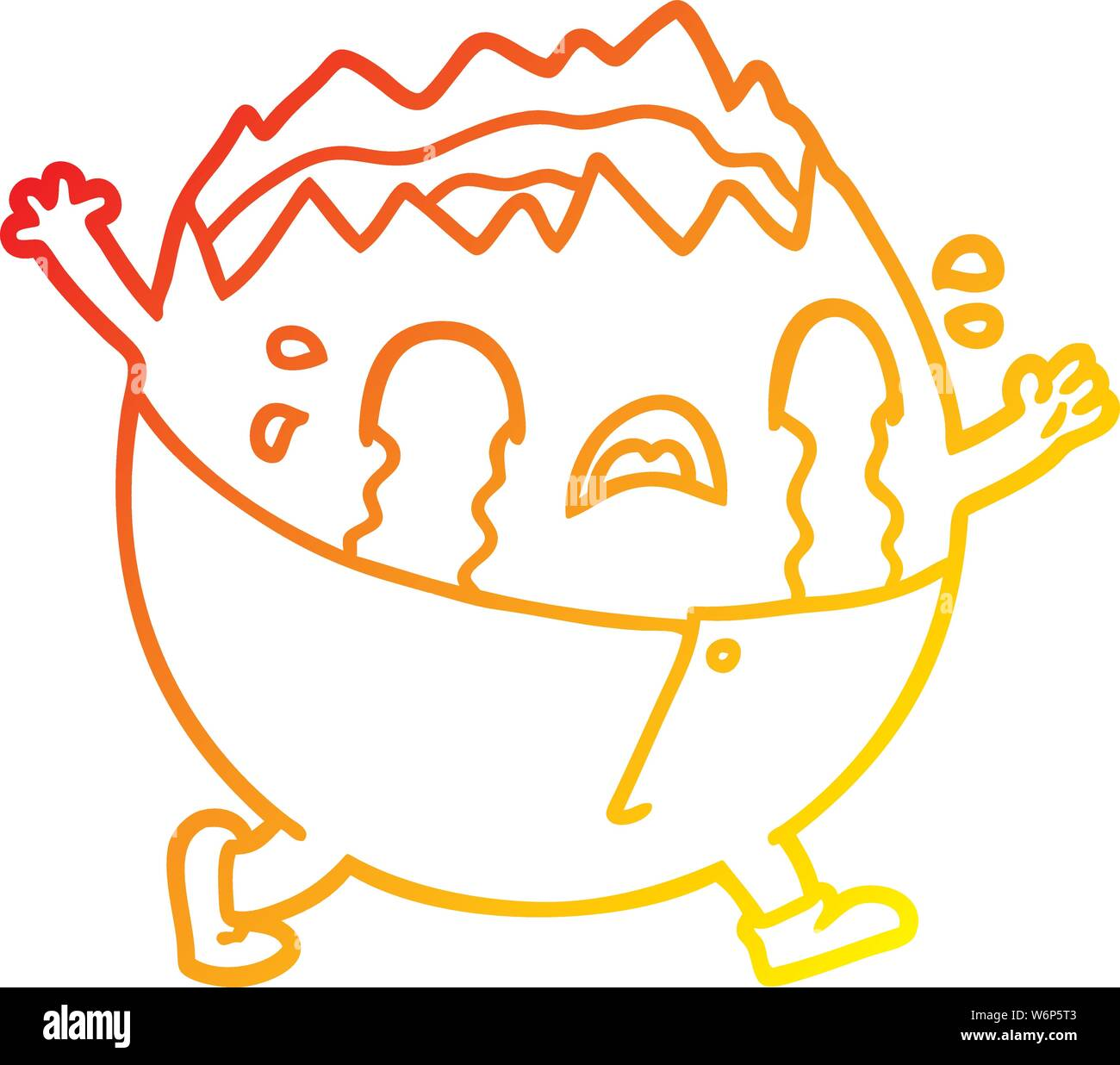 warm gradient line drawing of a humpty dumpty cartoon egg man crying Stock Vector
