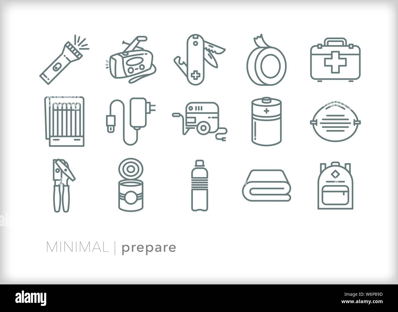 Set of 15 preparedness line icons for emergencies and weather disasters Stock Vector