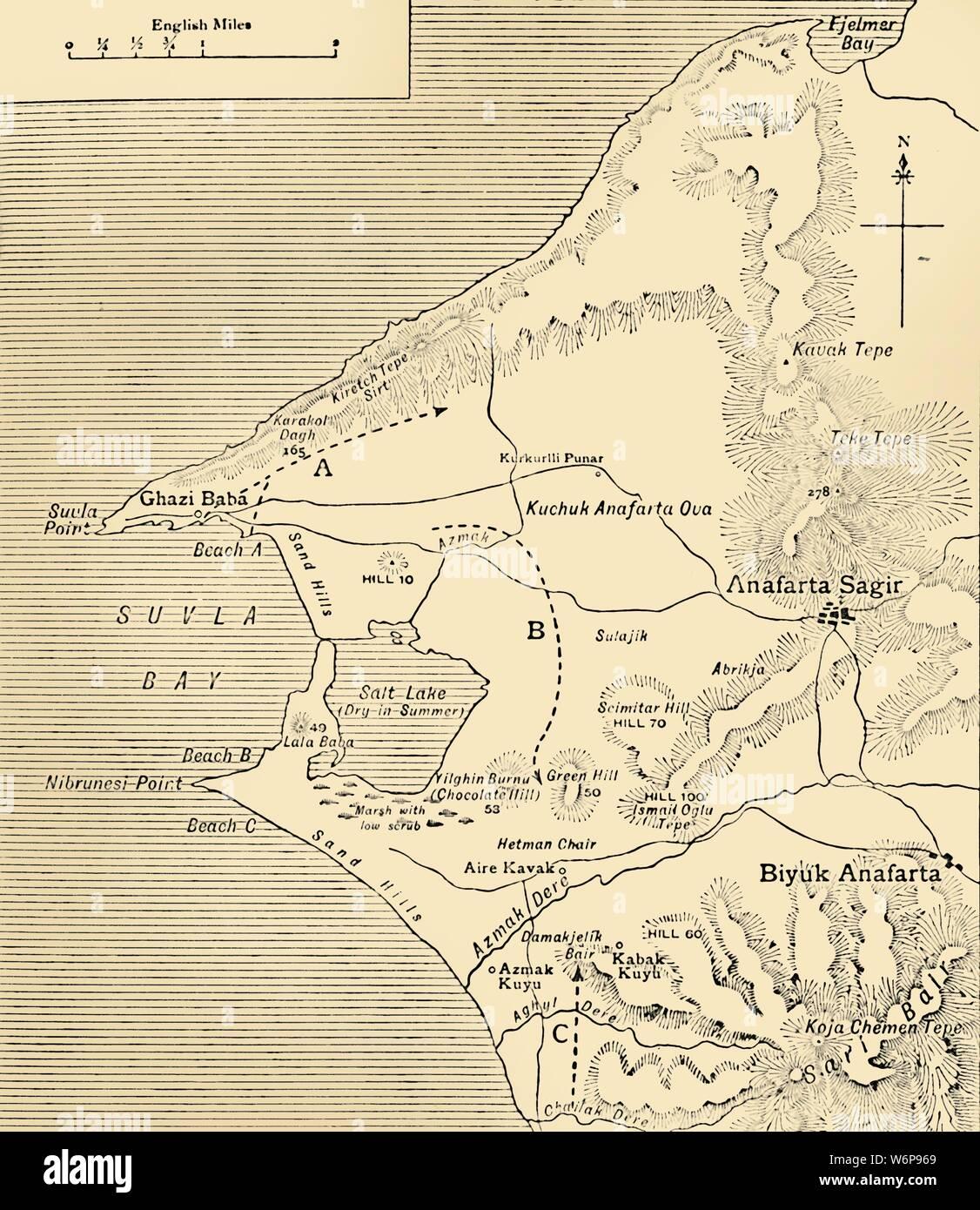 Map of Suvla Bay, Gallipoli peninsula, First World War, 1915 ... Gallipoli Map on battle of verdun map, tannenberg map, benevento map, bosporus map, aegean sea map, troy map, ypres map, greece map, palestine map, western front map, dardanelles map, australia map, florence map, balkan peninsula map, world map, suvla bay map, messina map, hundred days offensive map, italian front map, antalya map,