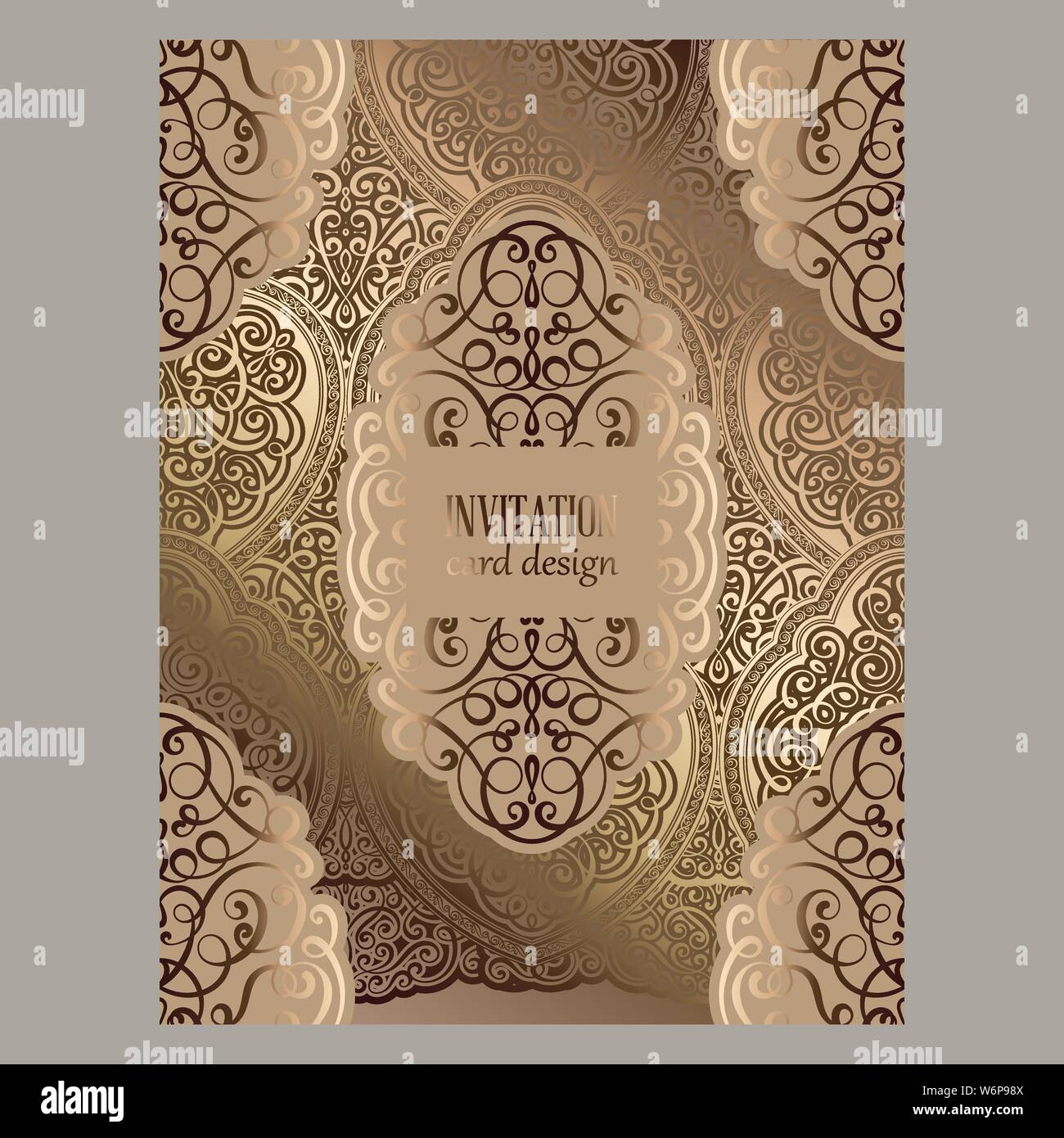 Wedding Invitation Card With Beige And Gold Shiny Eastern