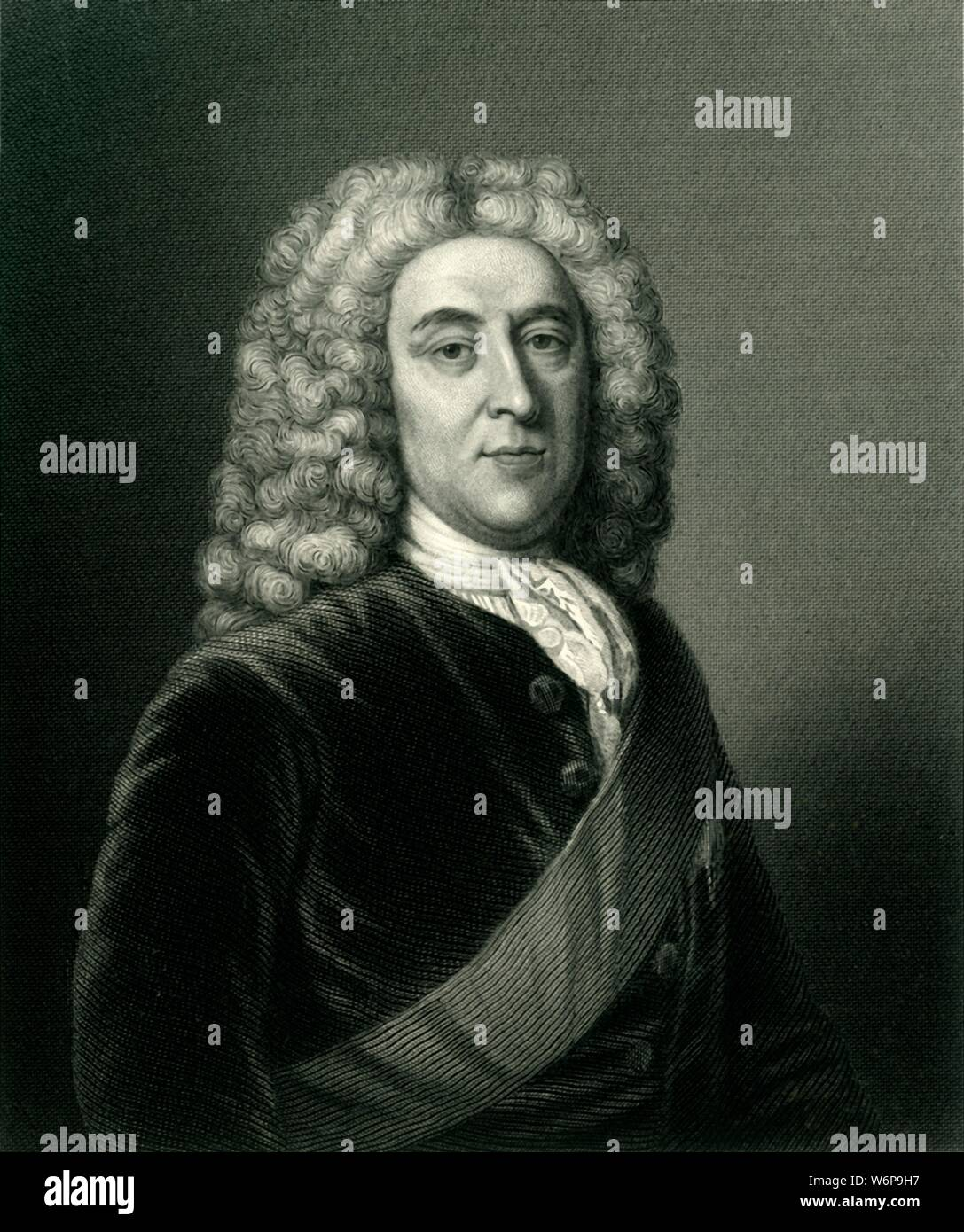 """'Thomas Holles Pelham, Duke of Newcastle, K.G.', c1884. Thomas Pelham-Holles (1693-1768), British Whig, educated at Westminster School and Clare College, Cambridge. Statesman, First Lord of the Treasury, protege of Sir Robert Walpole and Prime Minister during reigns of George II and George III. From """"Leaders of the Senate: A Biographical History of the Rise and Development of the British Constitution, Vol. I."""", by Alexander Charles Ewald, F.S.A. [William Mackenzie, London, Edinburgh & Berlin] Stock Photo"""