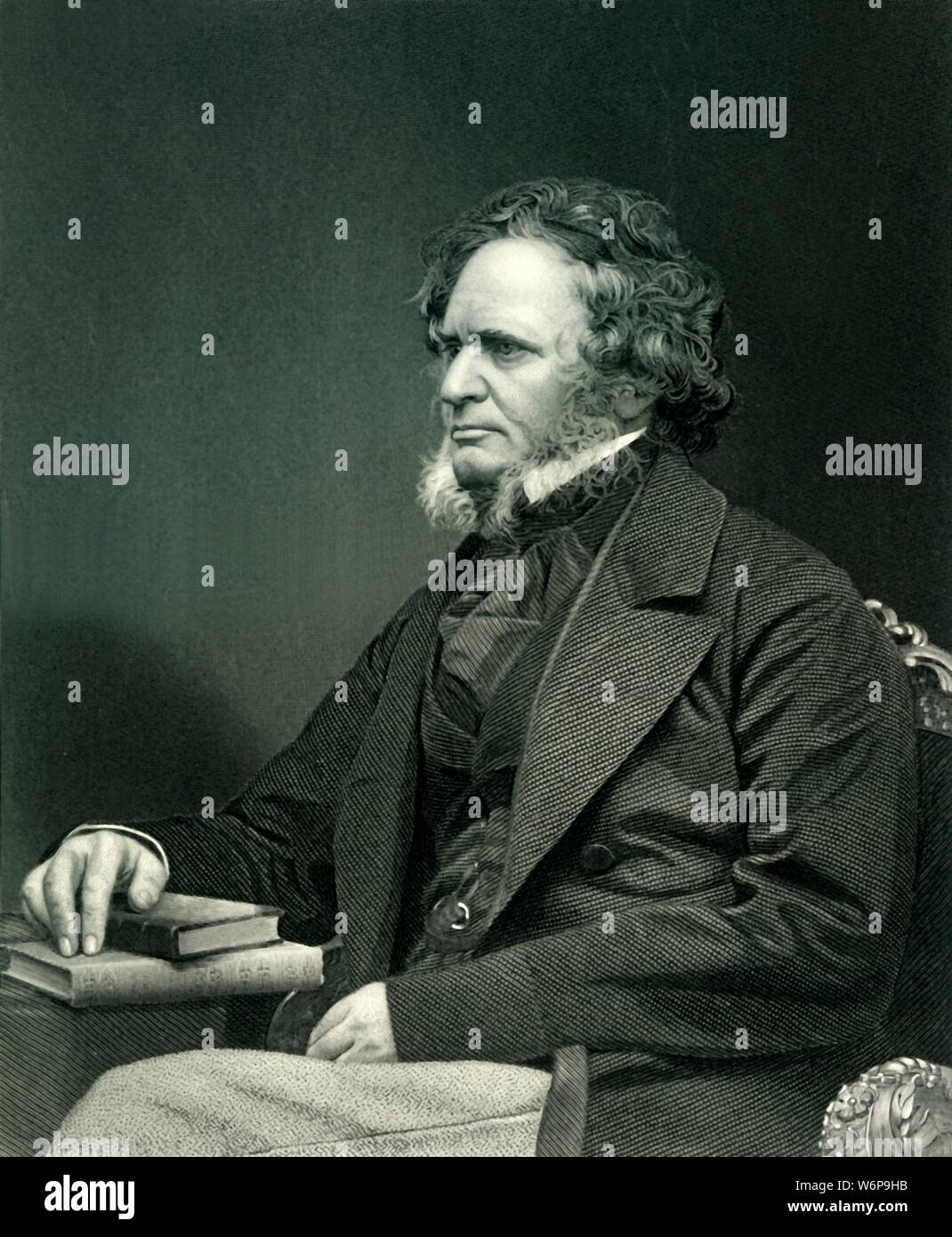 """'The Right Honourable Edward Geoffrey Stanley, Earl of Derby, K.G.', c1860, (c1884). Edward Smith-Stanley, 14th Earl of Derby (1799-1869), British Conservative educated at Eton College and Christ Church, Oxford. Three-time Prime Minister during Victorian-era and longest serving leader of the Conservative Party. Associated with Reform Act 1867. From """"Leaders of the Senate: A Biographical History of the Rise and Development of the British Constitution, Vol. II."""", by Alexander Charles Ewald, F.S.A. [William Mackenzie, London, Edinburgh & Berlin, ] Stock Photo"""
