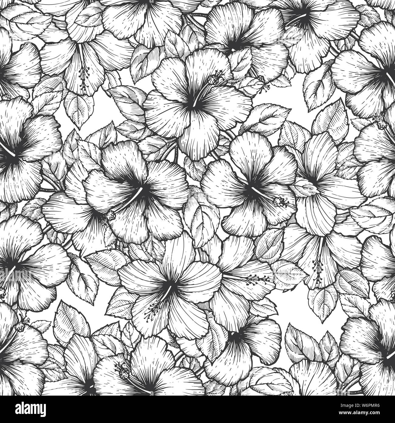 Hand Drawn Tropical Hibiscus Flower Seamless Floral Pattern With