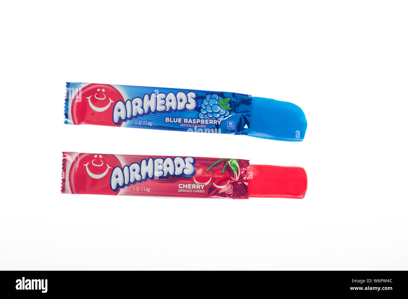 Airheads opened blue raspberry and cherry flavored taffy