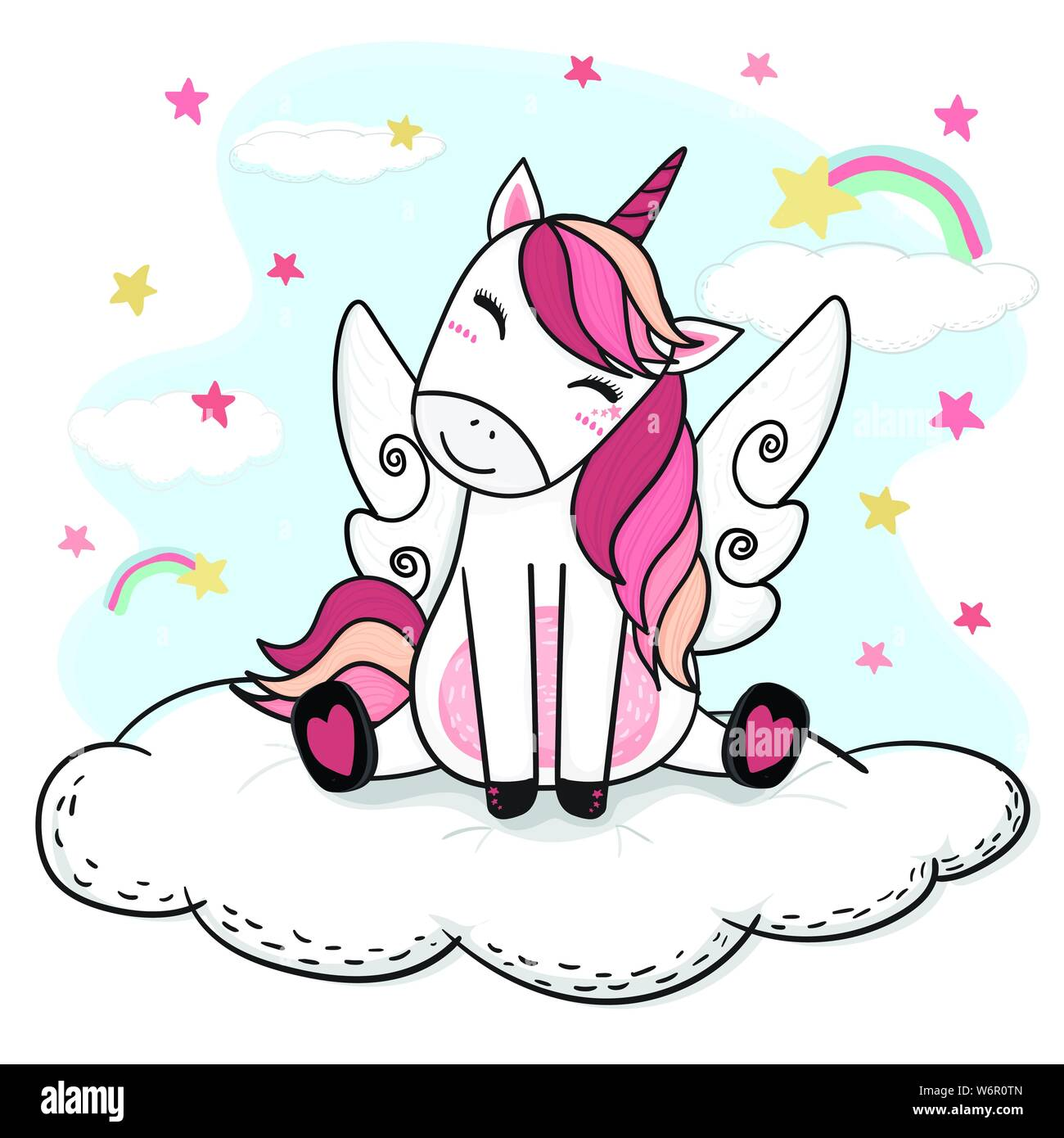 Cute Drawing Happy Smile Unicorn In Pink With Angle Wing