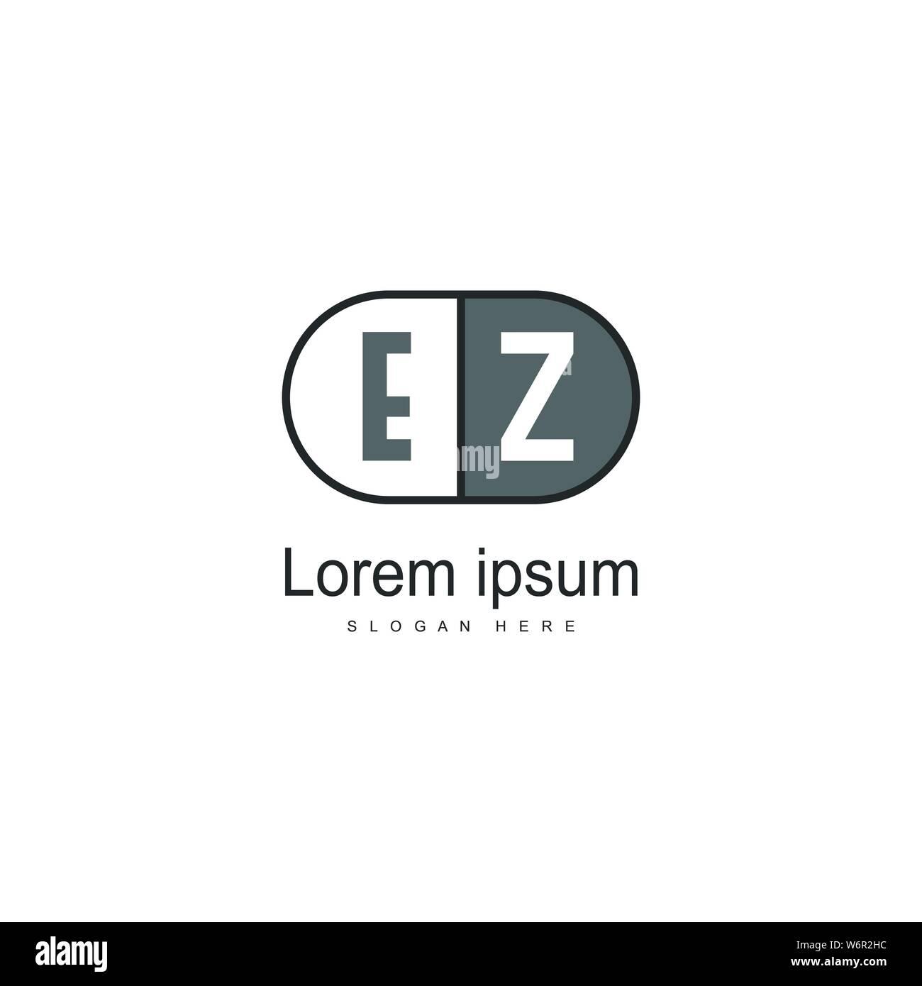 Initial EZ logo template with modern frame. Minimalist EZ letter logo vector illustration design Stock Vector