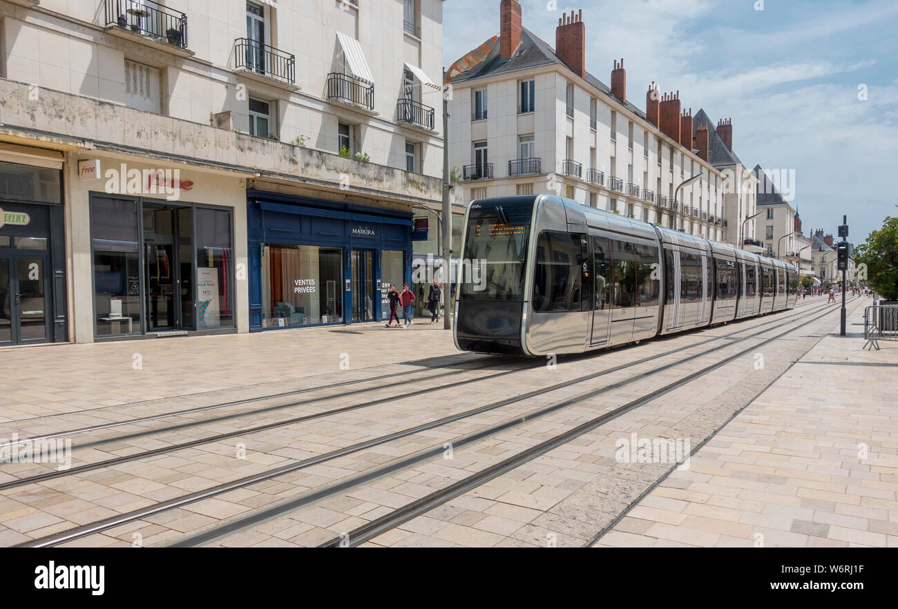 Tours, France sleek tram catenary-free, using underground power in city center. Alstom Citadis 402 cars light rail service began 2013 Stock Photo