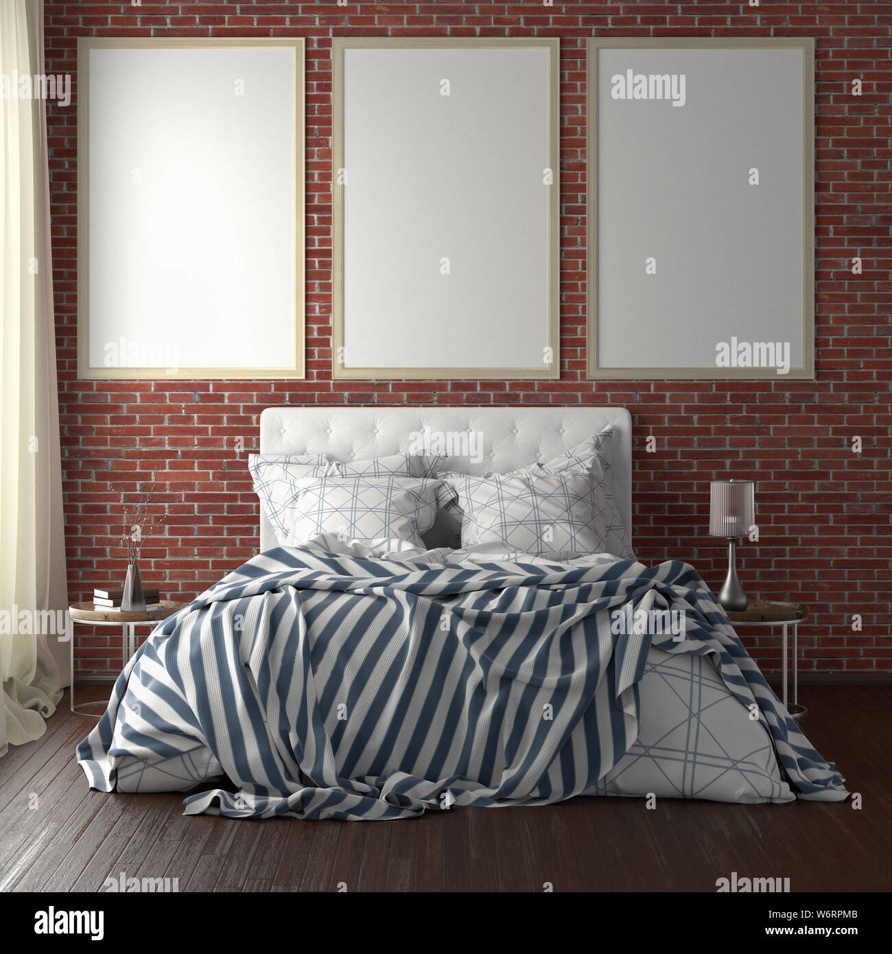 Three vertical poster frame mockups above the bed on red brick wall in bedroom. Soft morning light through the curtain. 3d illustration Stock Photo