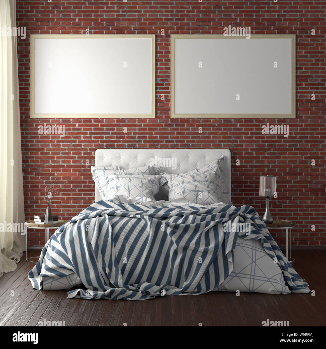 Two horizontal poster frame mockups above the bed on red brick wall in bedroom. Soft morning light through the curtain. 3d illustration Stock Photo