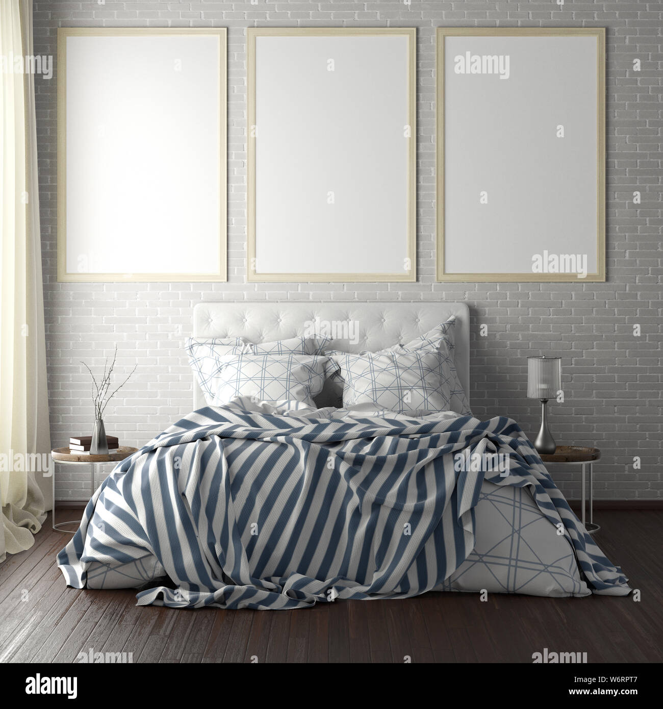 Three vertical poster frame mockups above the bed on white brick wall in bedroom. Soft morning light through the curtain. 3d illustration Stock Photo