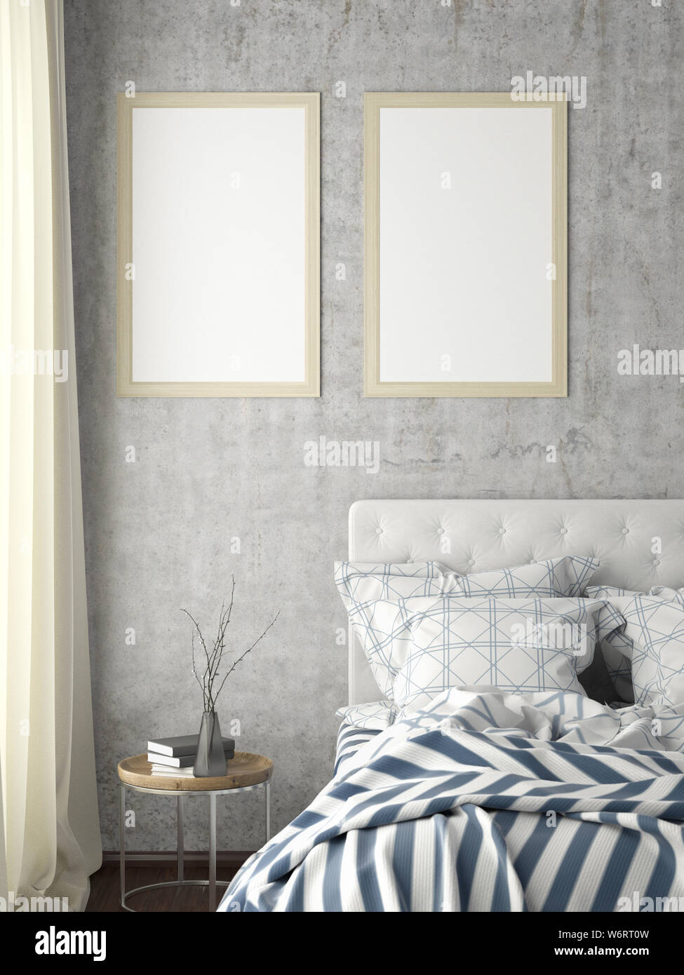 Two vertical posters frame mock up on concrete wall in ...