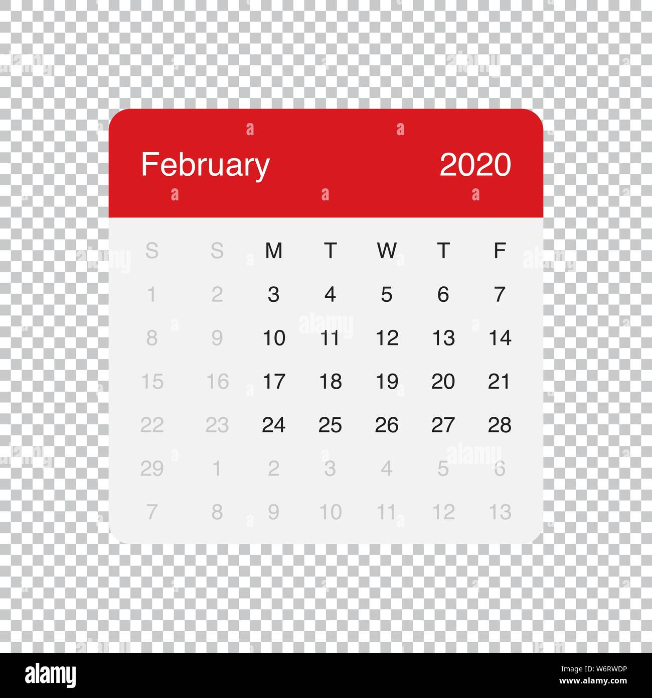 February Calendar 2020 Grid Calendar February 2020 Clean Minimal Table Simple Design. Basic