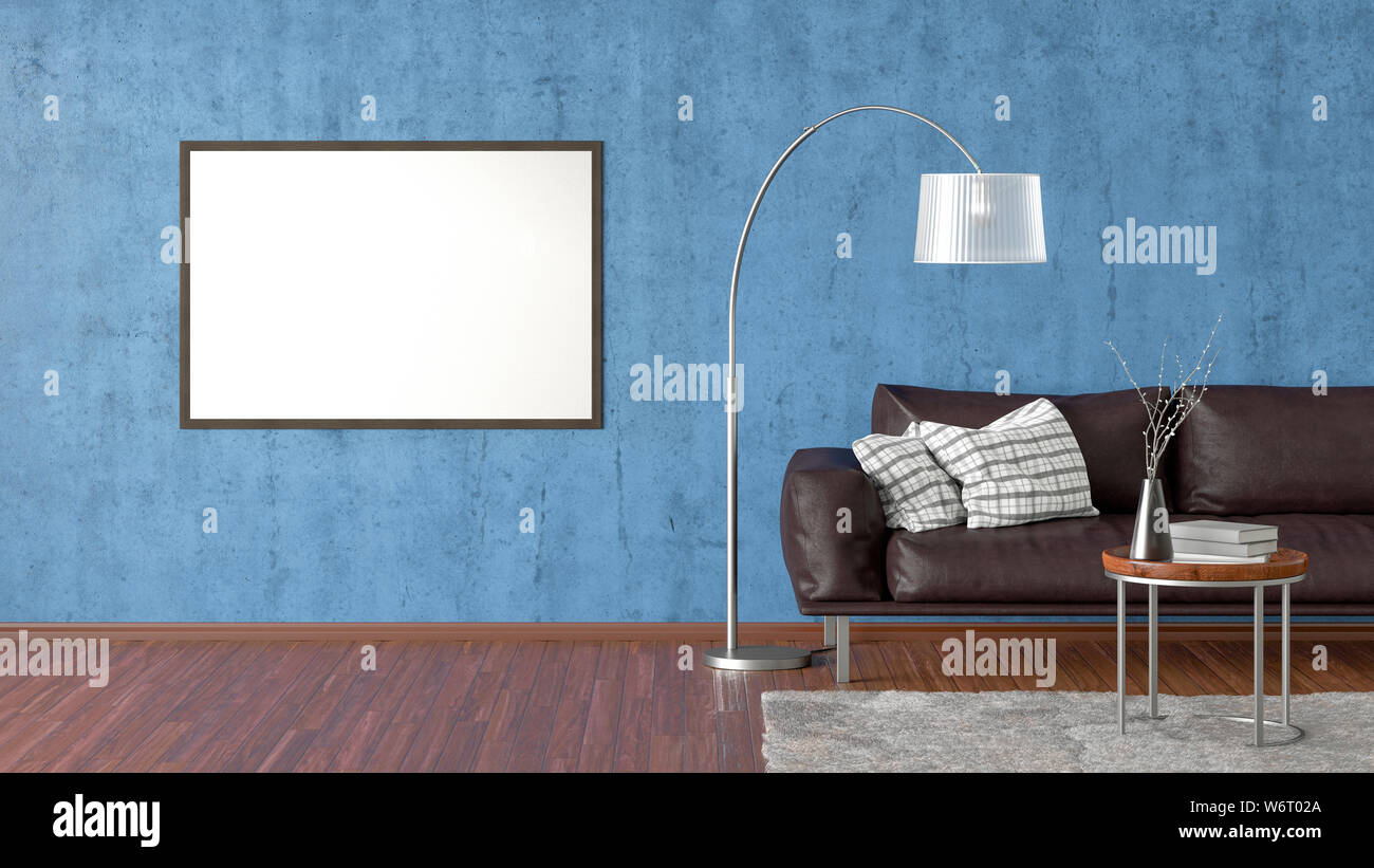 Picture of: Blank Horizontal Poster On Blue Concrete Wall In Interior Of Living Room With Brown Leather Couch Carpet Floor Lamp And Coffee Table On Hardwood Flo Stock Photo Alamy